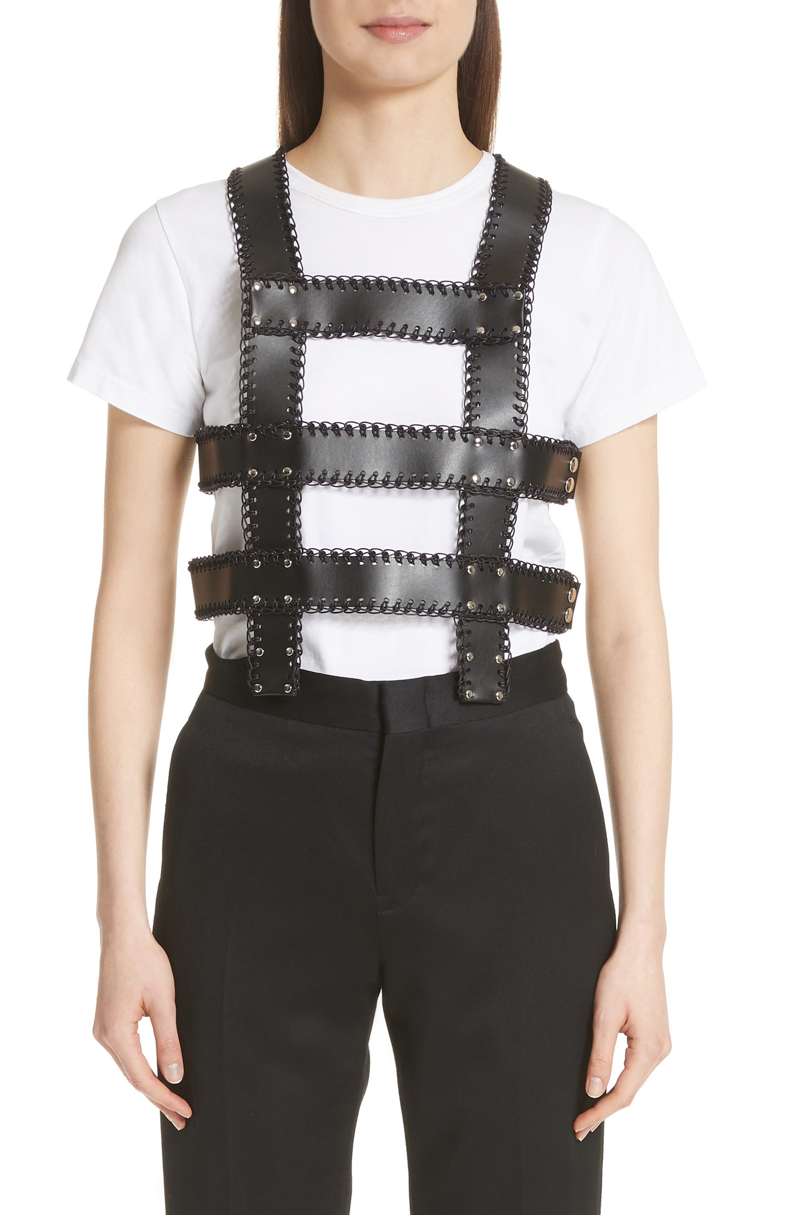 noir kei ninomiya Faux Leather Harness Top