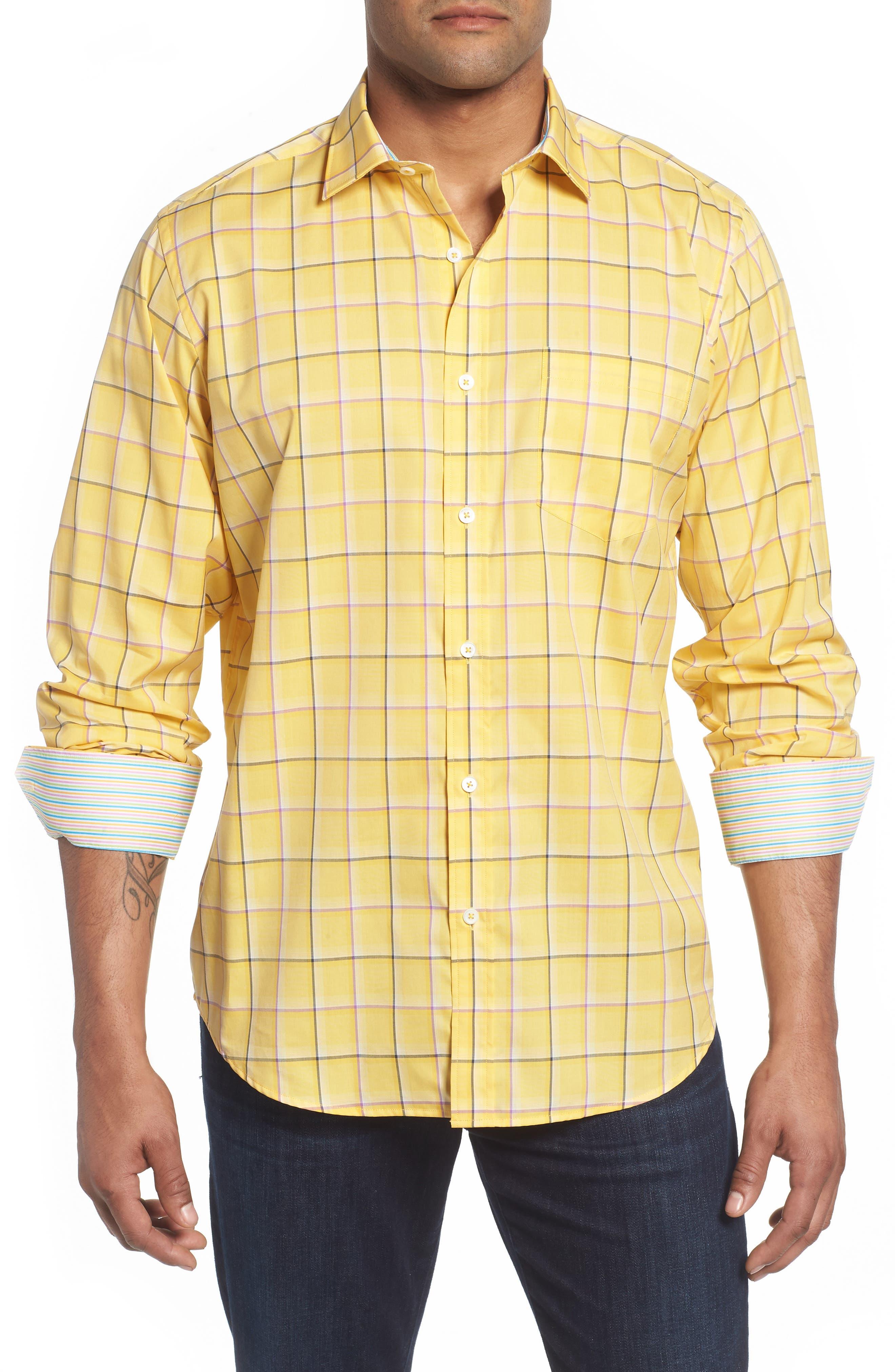 Classic Fit Check Sport Shirt,                             Main thumbnail 1, color,                             Lemon