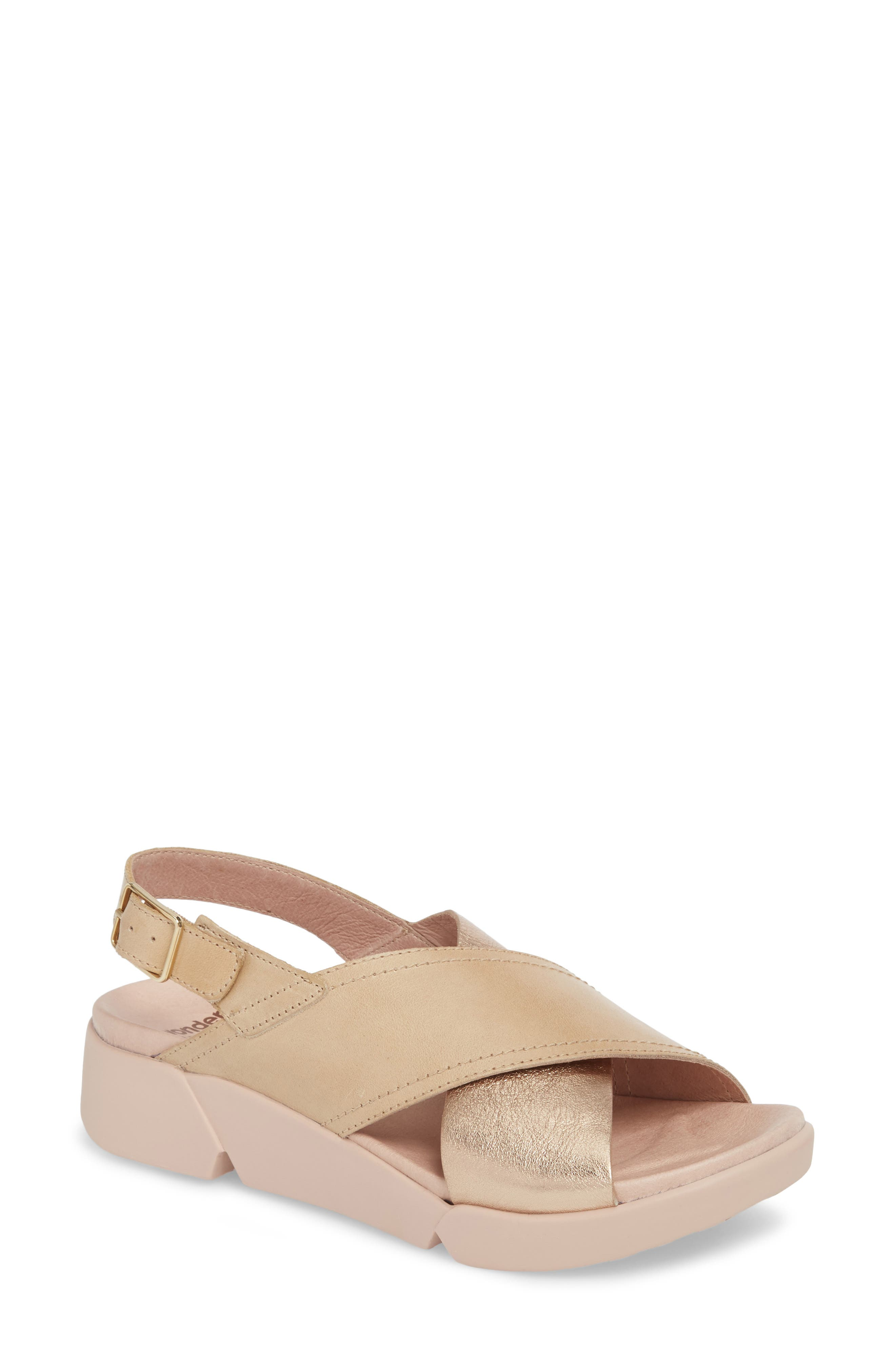 Platform Wedge Sandal,                             Main thumbnail 1, color,                             Oro/ Taupe Leather