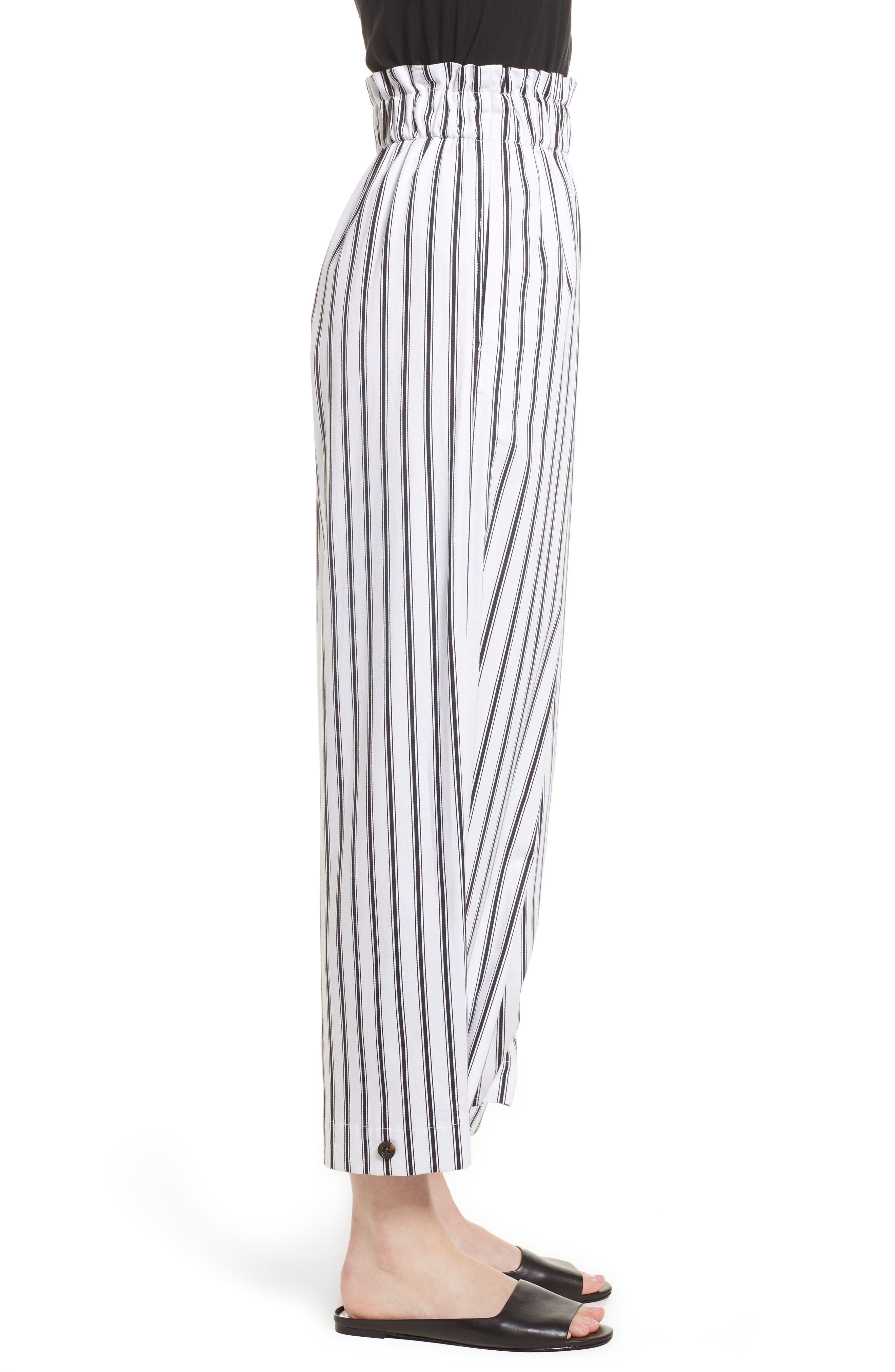High Waist Convertible Wide Leg Pants,                             Alternate thumbnail 3, color,                             Black/ White Striped