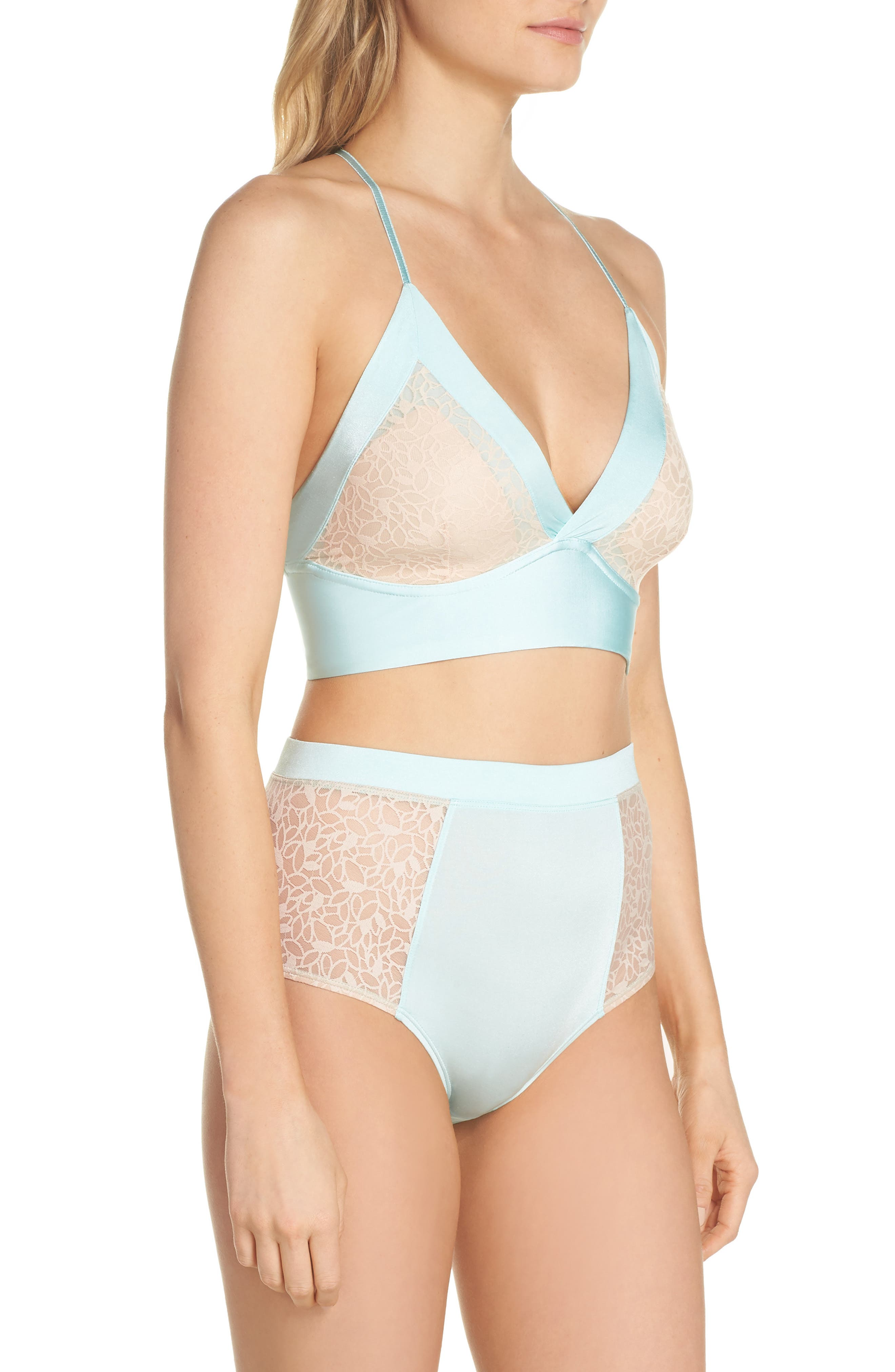 Satin Lace Wireless Bralette,                             Alternate thumbnail 6, color,                             Blue Plume/ Pink Dust