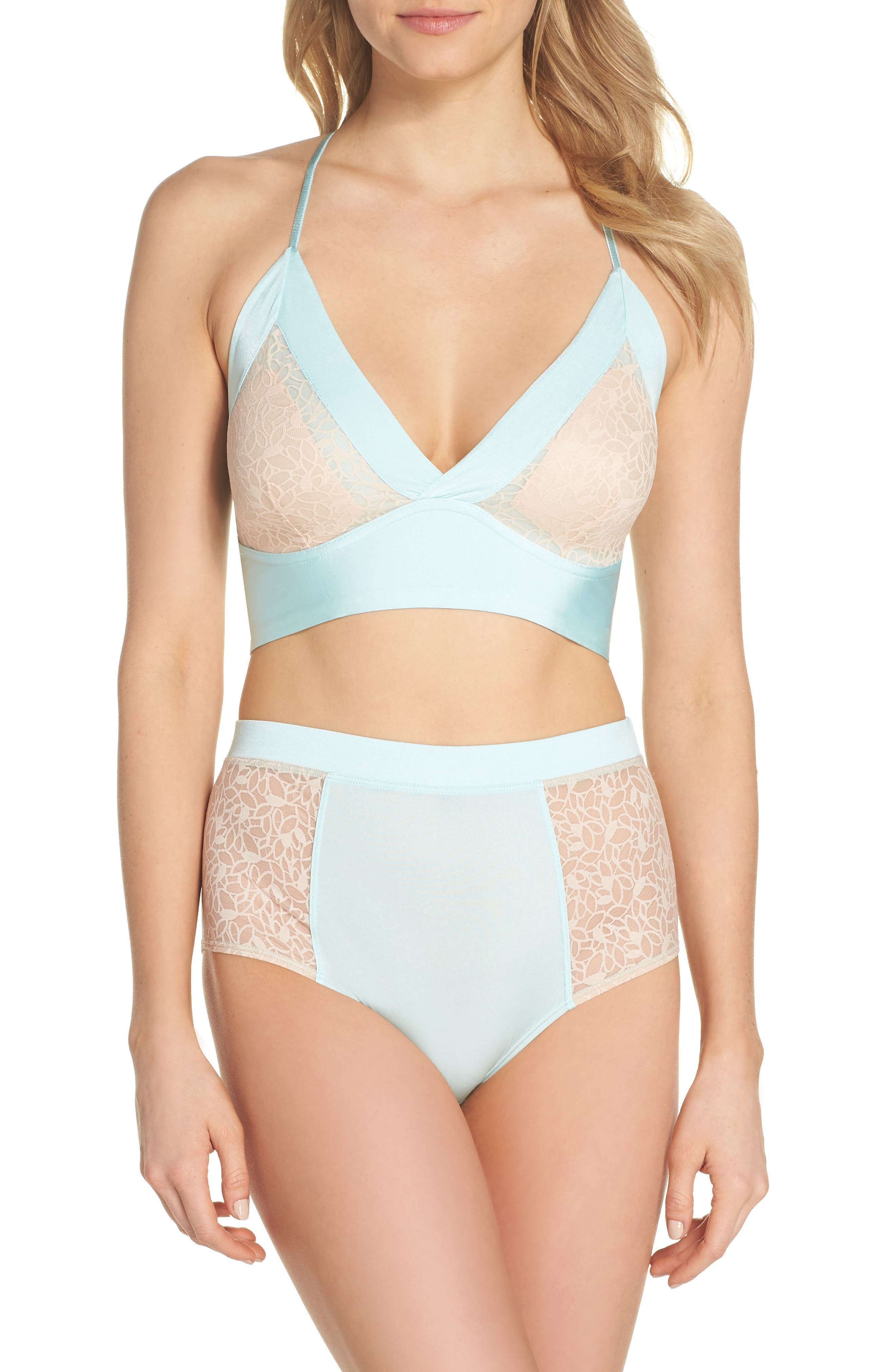 Satin Lace Wireless Bralette,                             Alternate thumbnail 4, color,                             Blue Plume/ Pink Dust