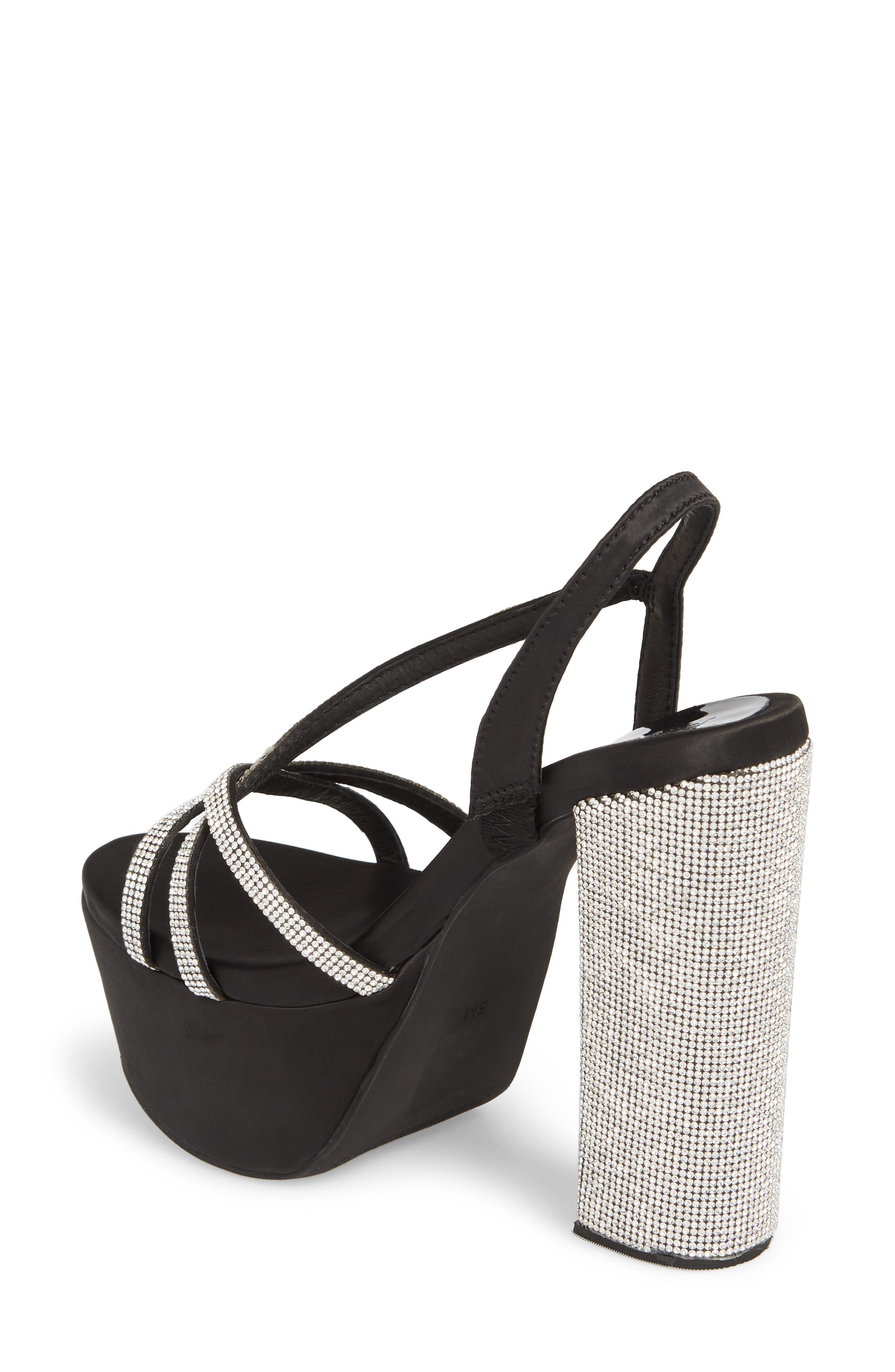 Upset Embellished Platform Sandal,                             Alternate thumbnail 2, color,                             Black Satin/ Silver