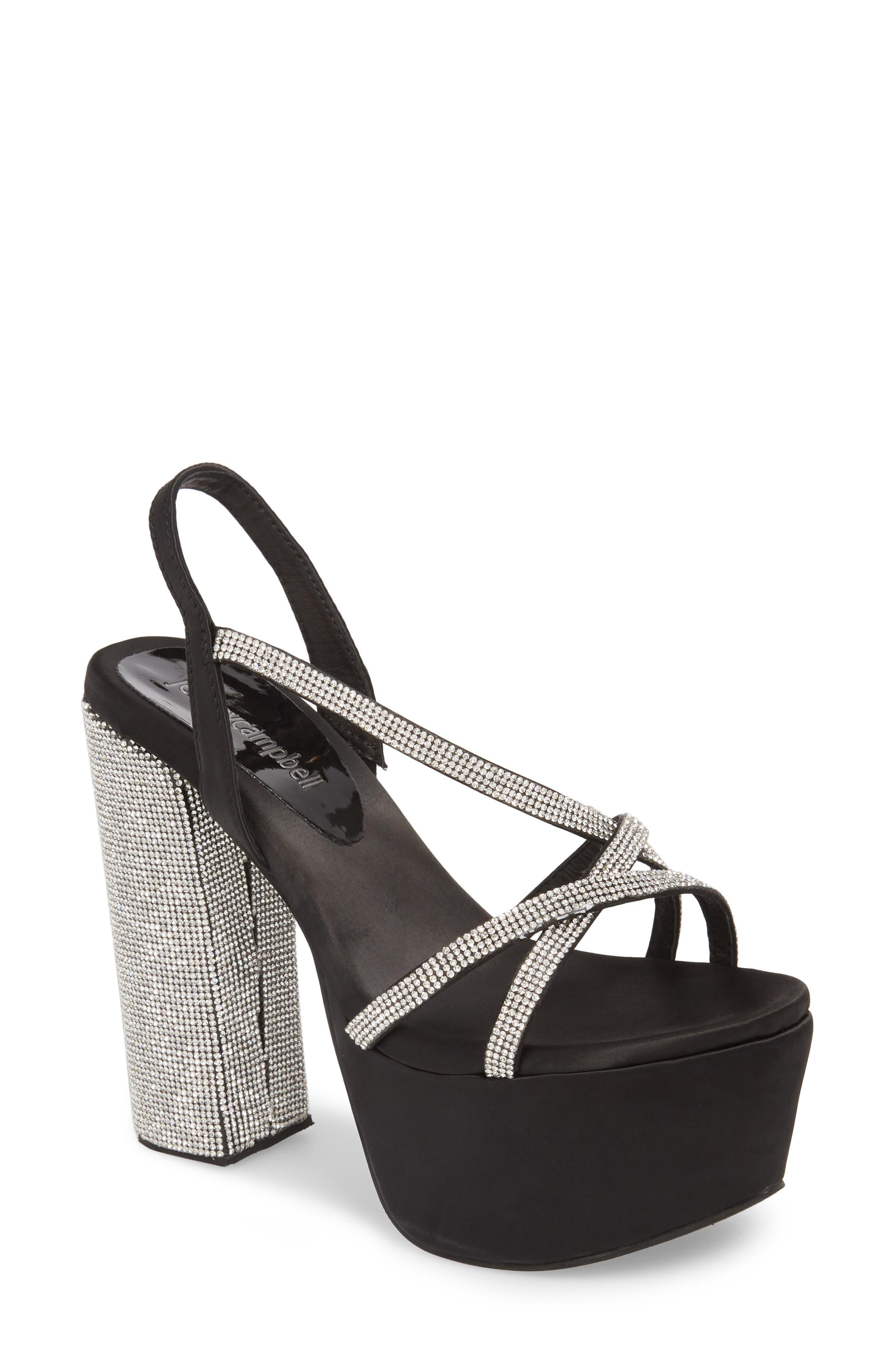 Upset Embellished Platform Sandal,                         Main,                         color, Black Satin/ Silver