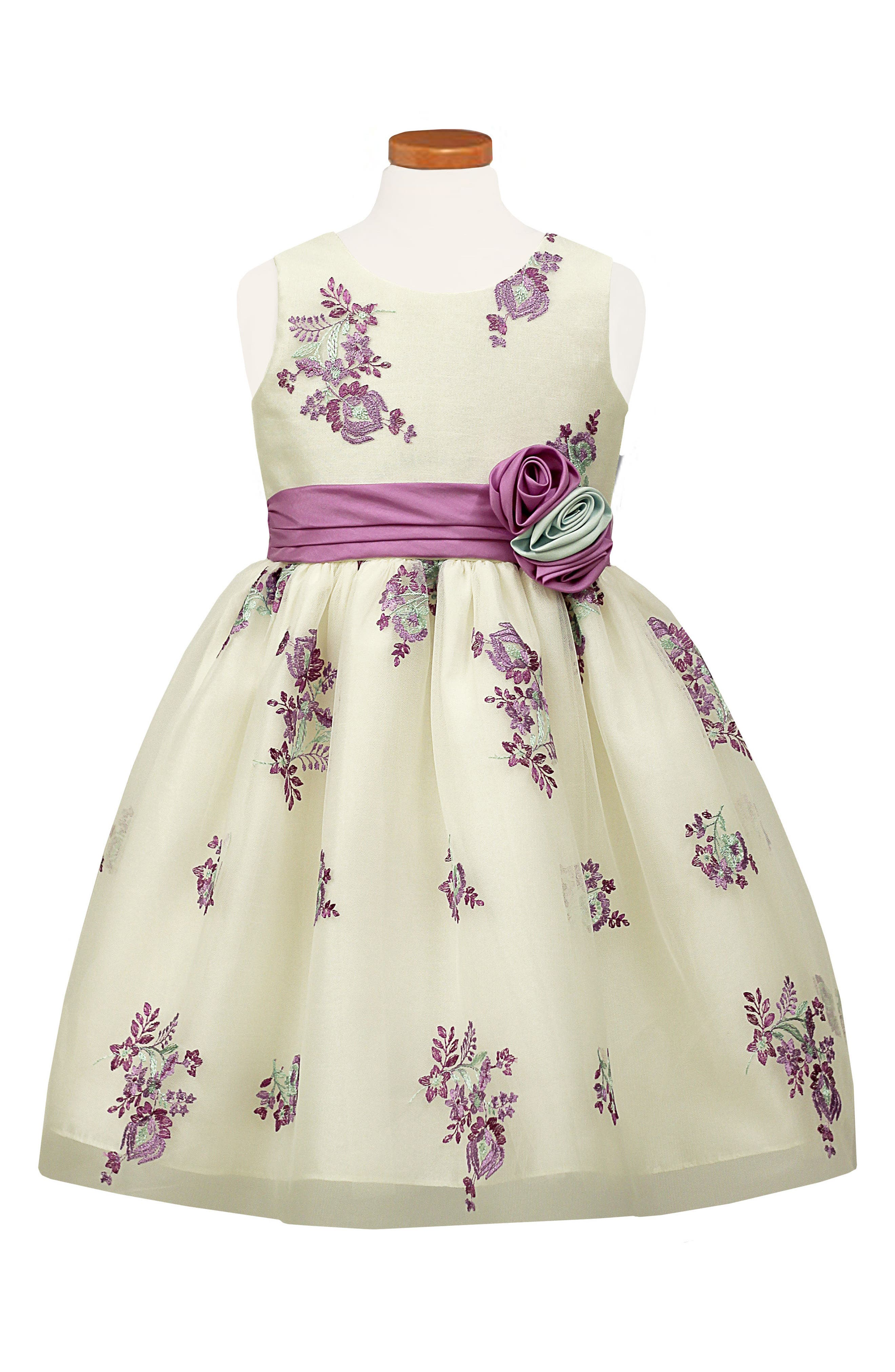 Embroidered Floral Tulle Dress,                         Main,                         color, White