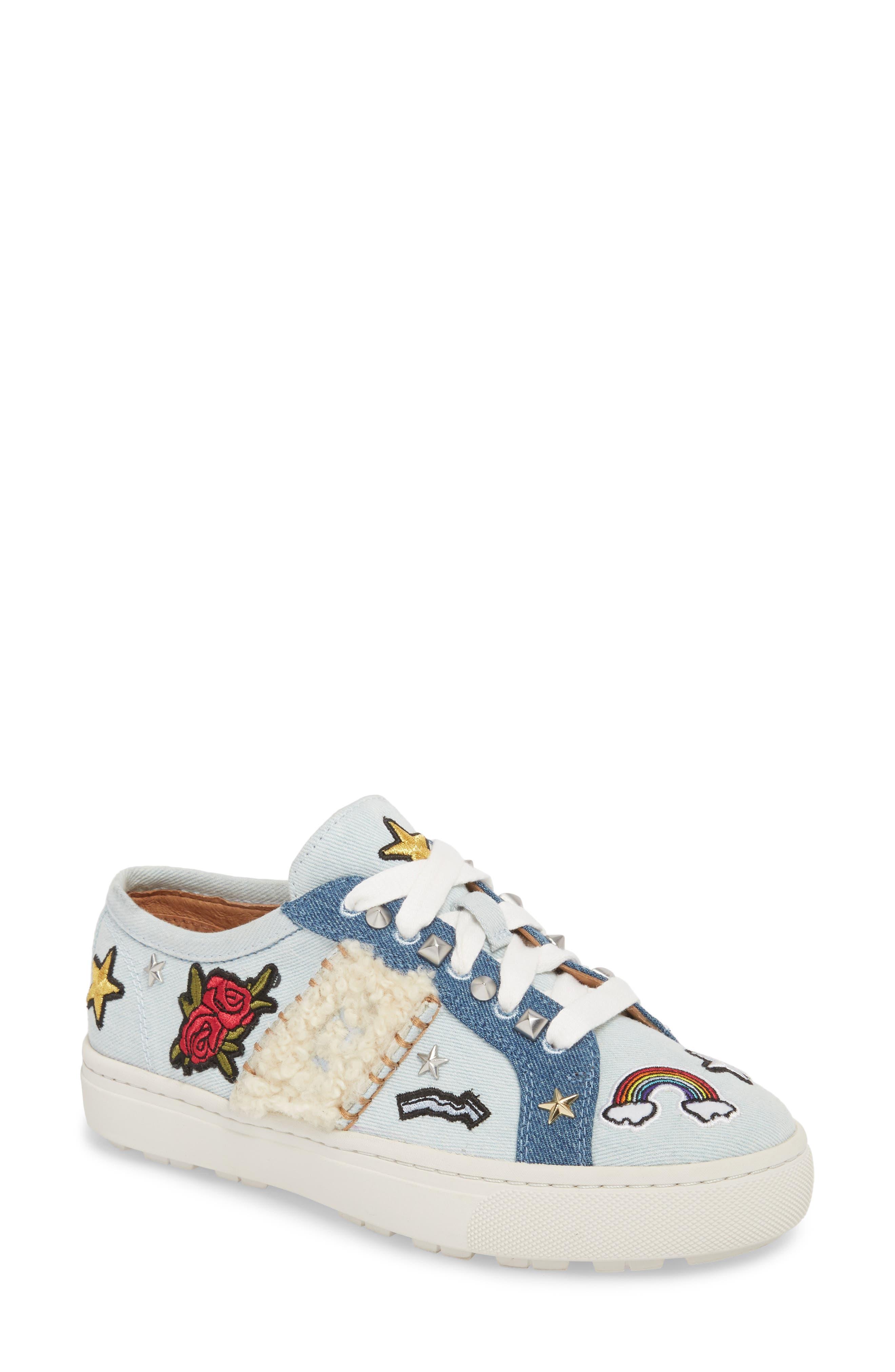Patch It Genuine Shearling Trim Sneaker,                         Main,                         color, Bleach Denim