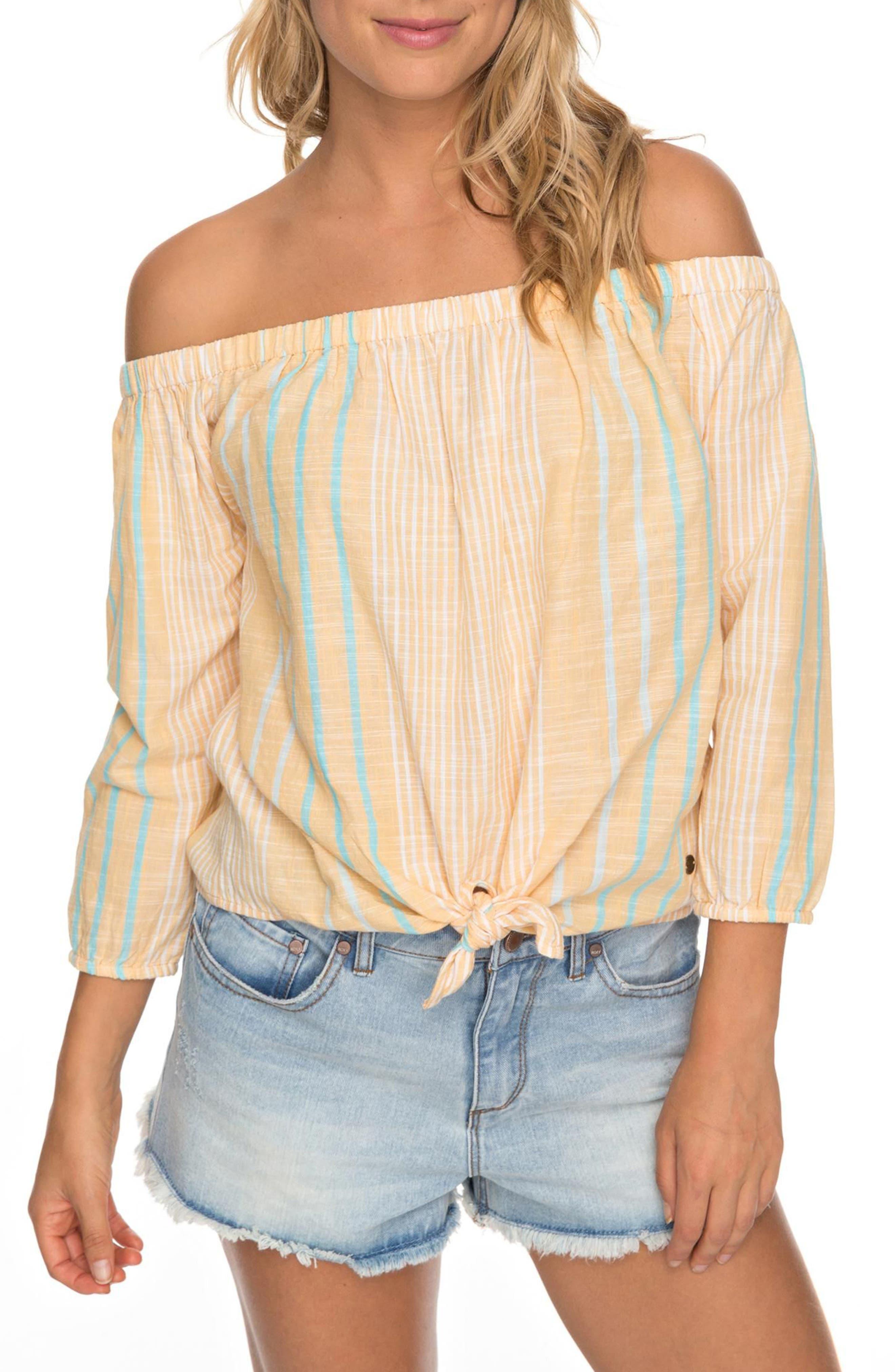 Crossing Stripes Of the Shoulder Top,                         Main,                         color, Oak Buff