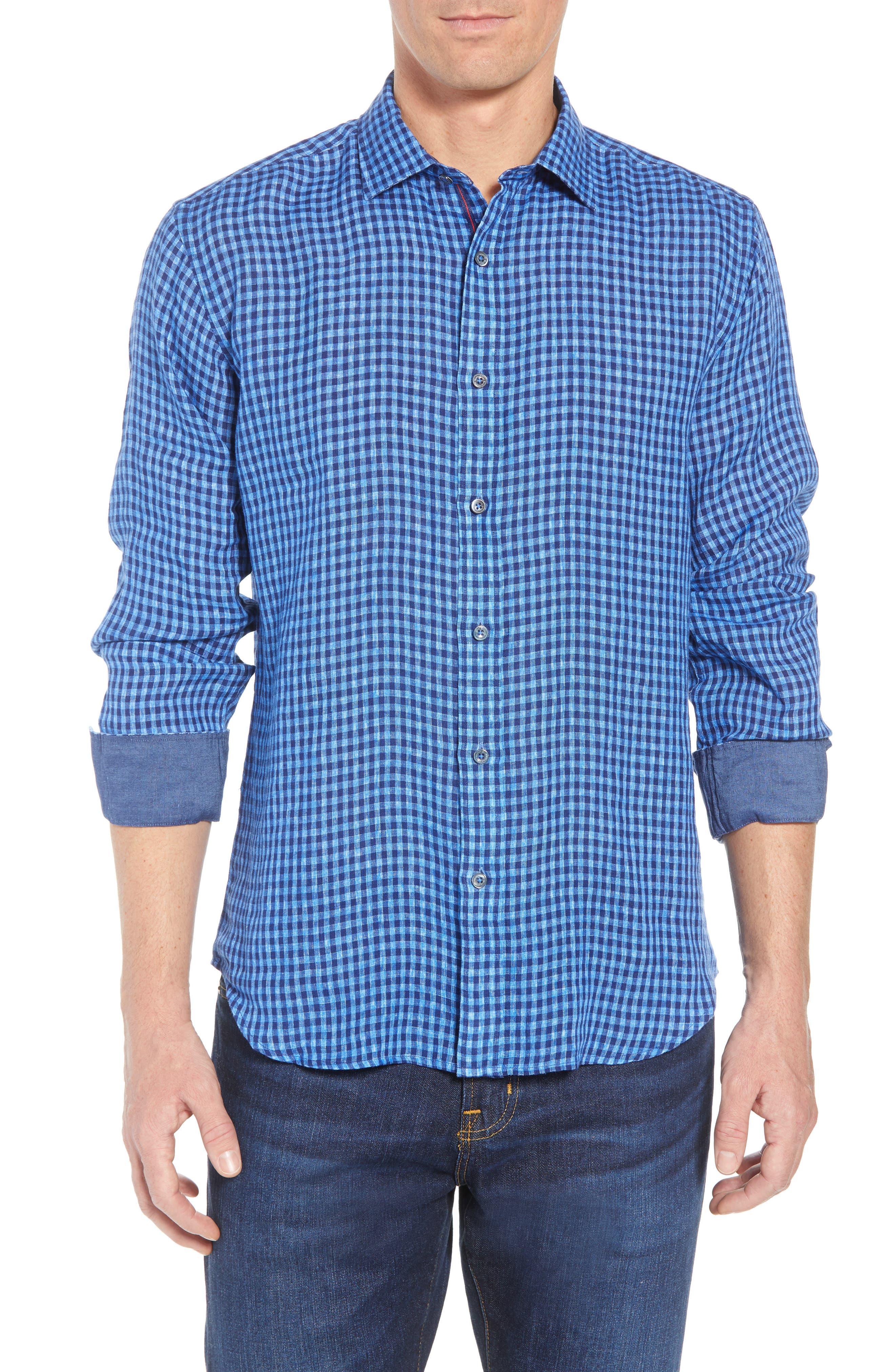 Shaped Fit Check Linen Sport Shirt,                             Main thumbnail 1, color,                             Classic Blue
