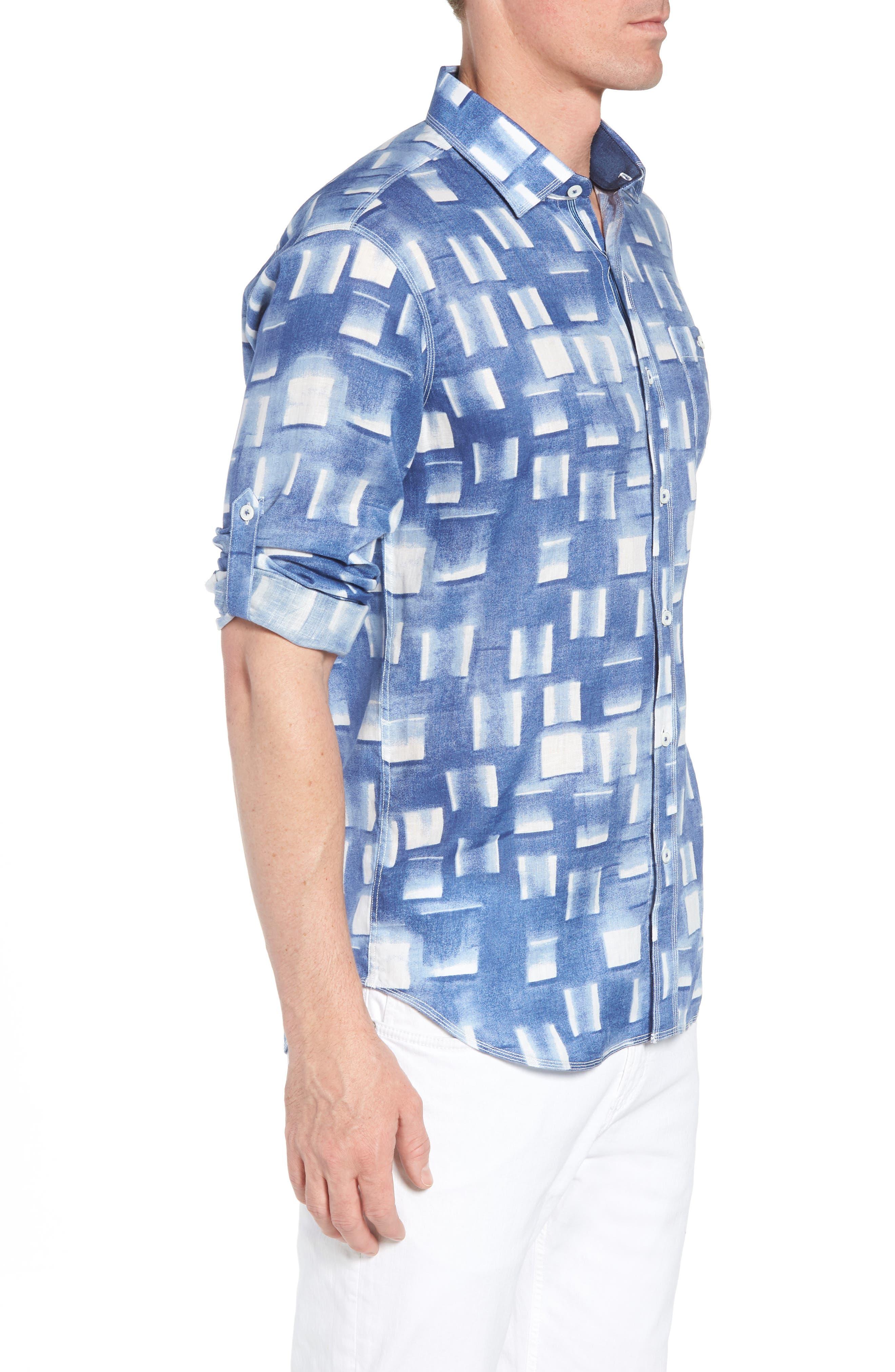 Shaped Fit Print Linen Sport Shirt,                             Alternate thumbnail 4, color,                             Air Blue