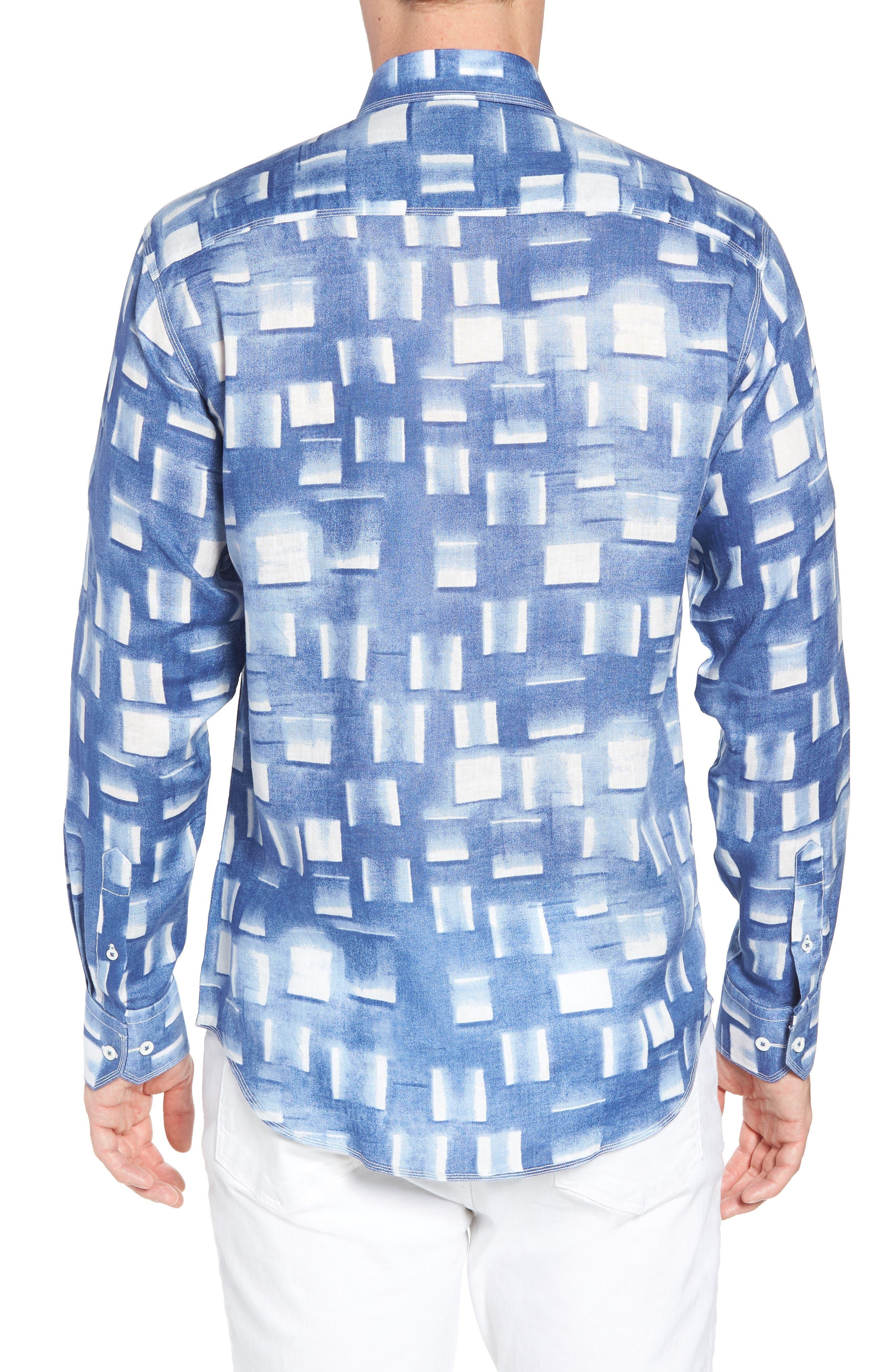 Shaped Fit Print Linen Sport Shirt,                             Alternate thumbnail 3, color,                             Air Blue