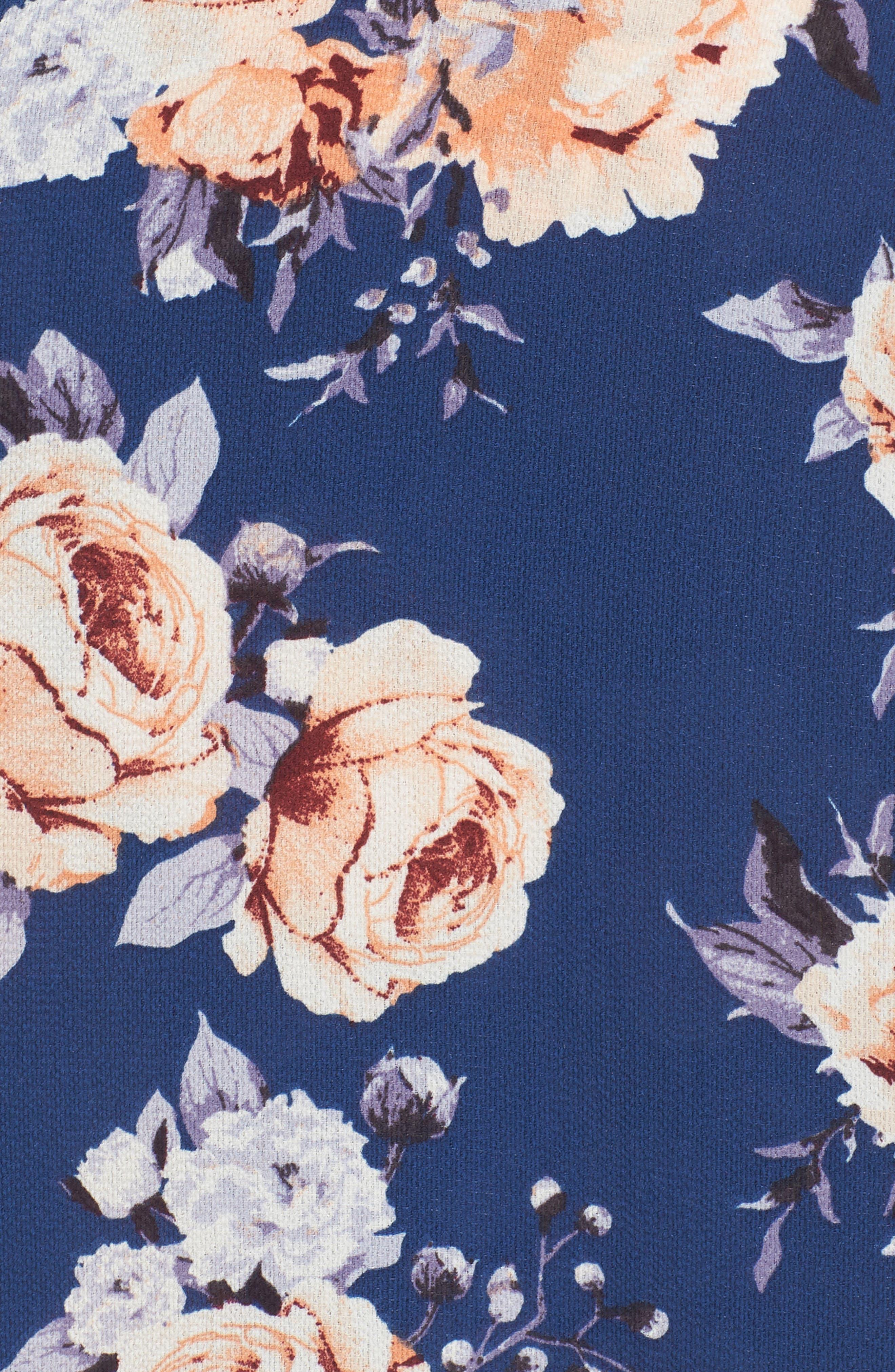 Floral Print Maxi Skirt,                             Alternate thumbnail 5, color,                             Blue Floral