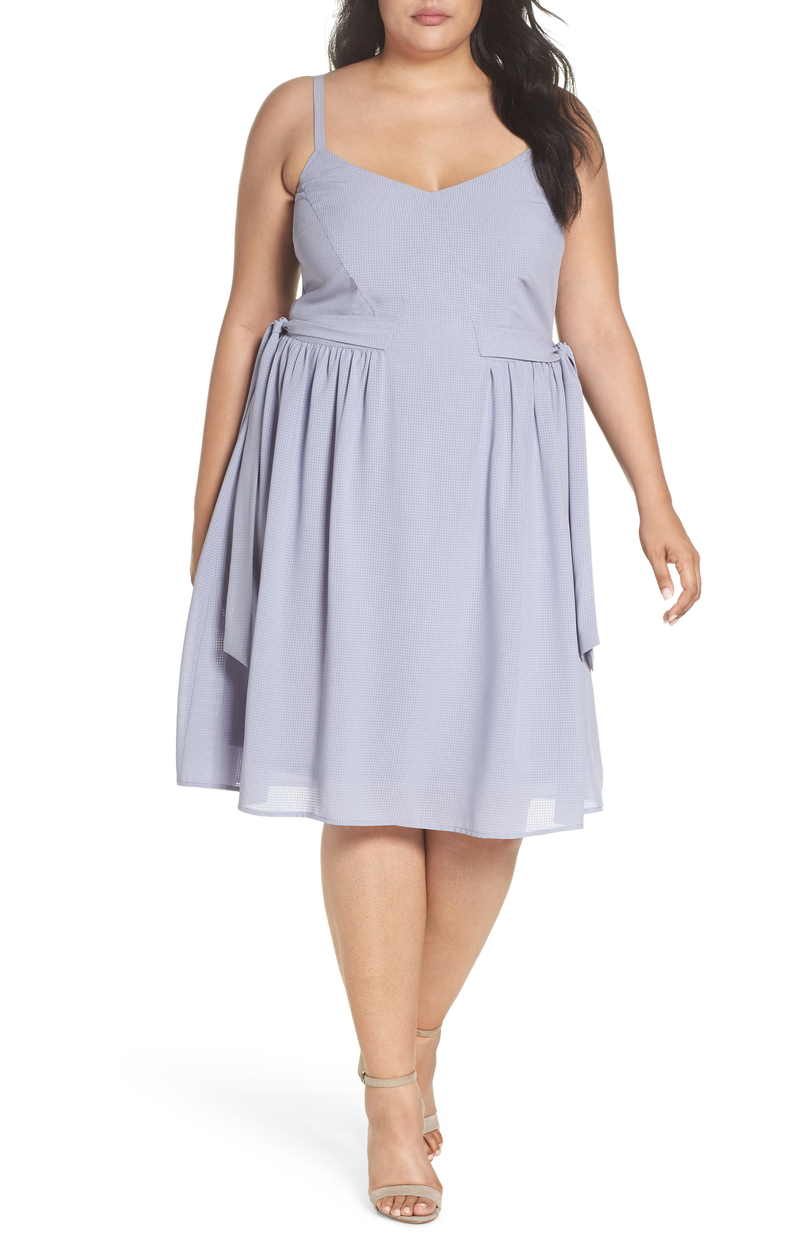 Side Tie Gathered Dress,                         Main,                         color, Grey