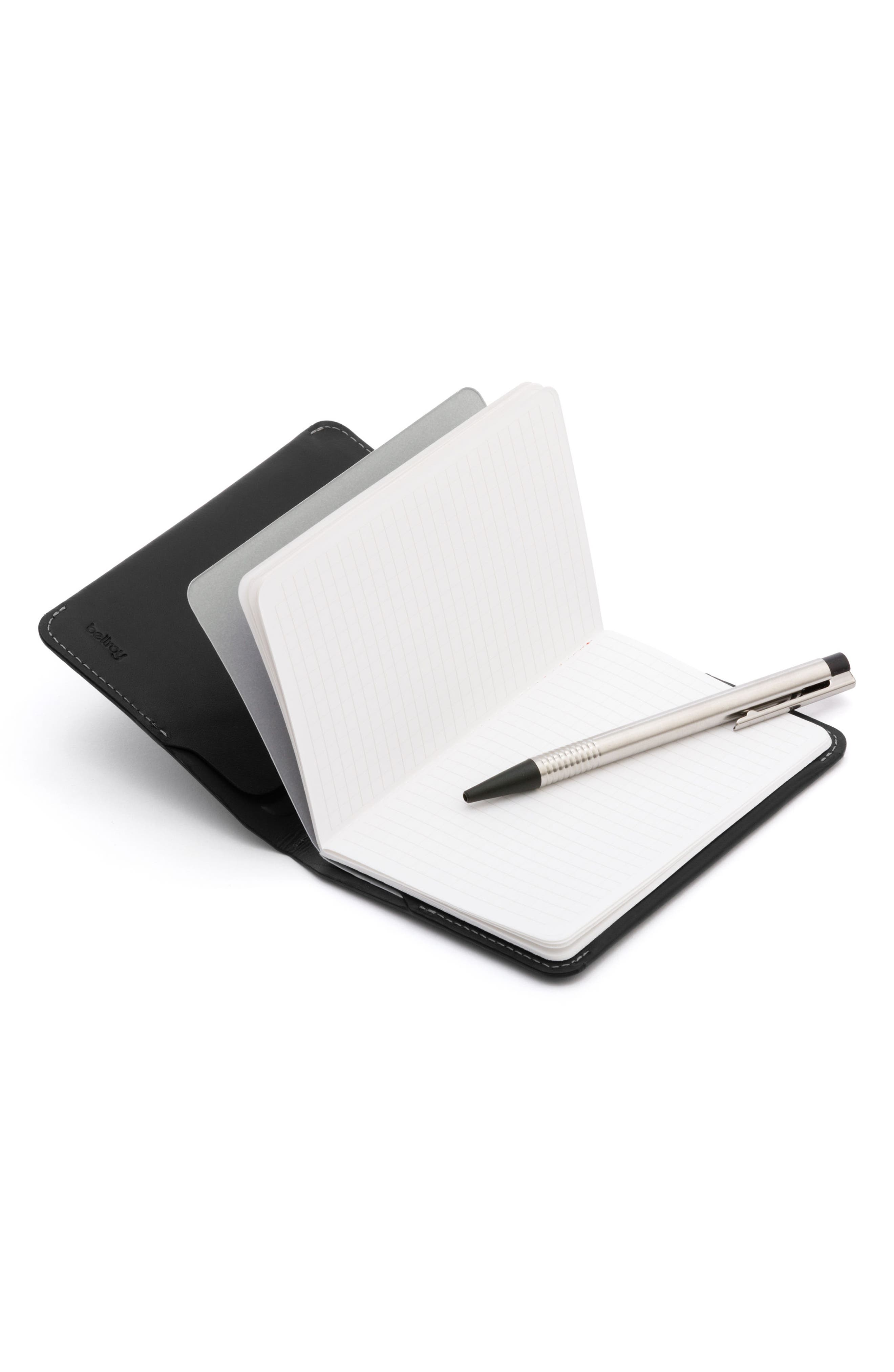 Mini Leather Notebook Cover,                             Alternate thumbnail 4, color,                             Black