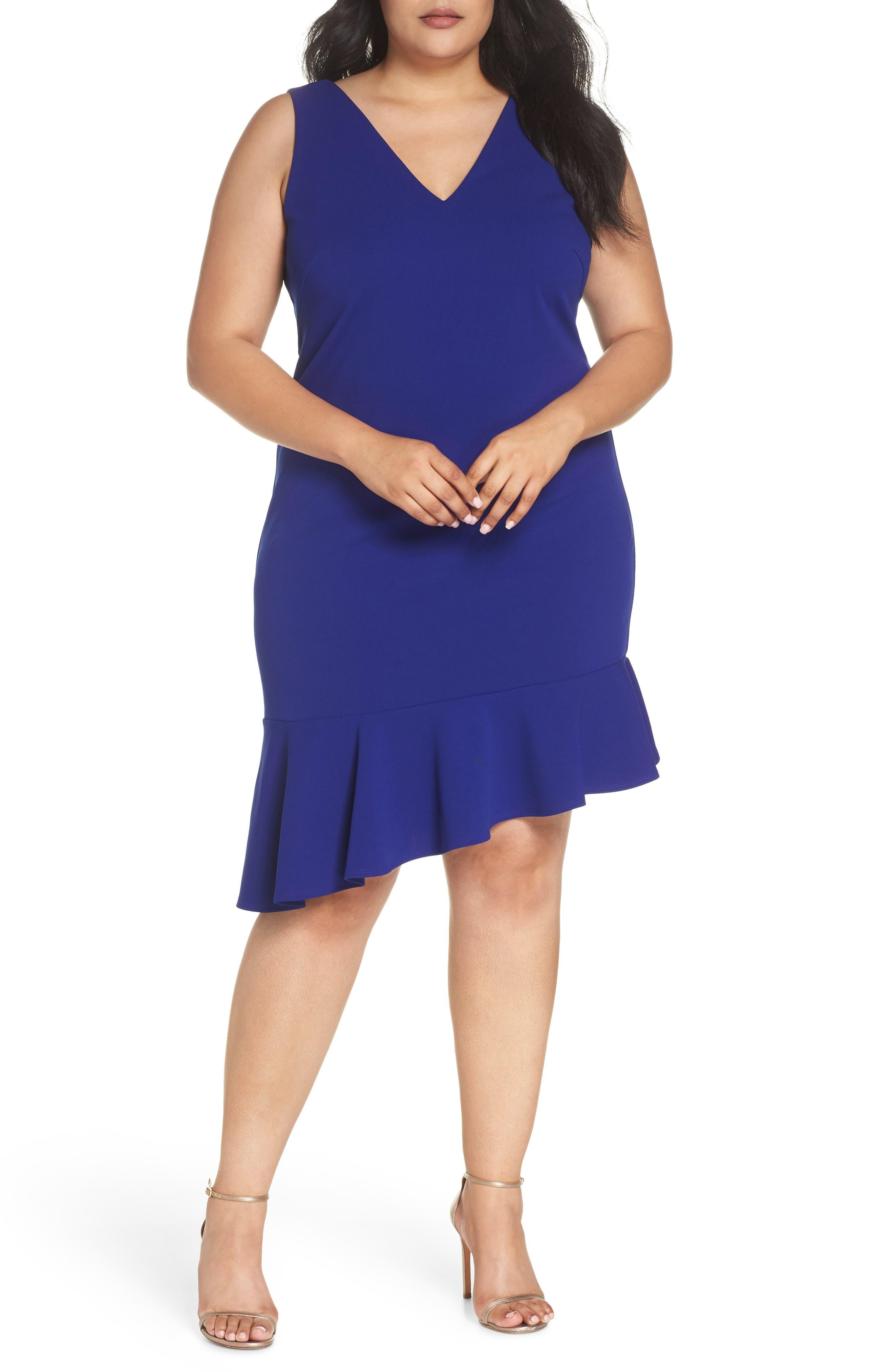 Ruffle Hem Scuba Crepe Body-Con Dress,                         Main,                         color, Cobalt