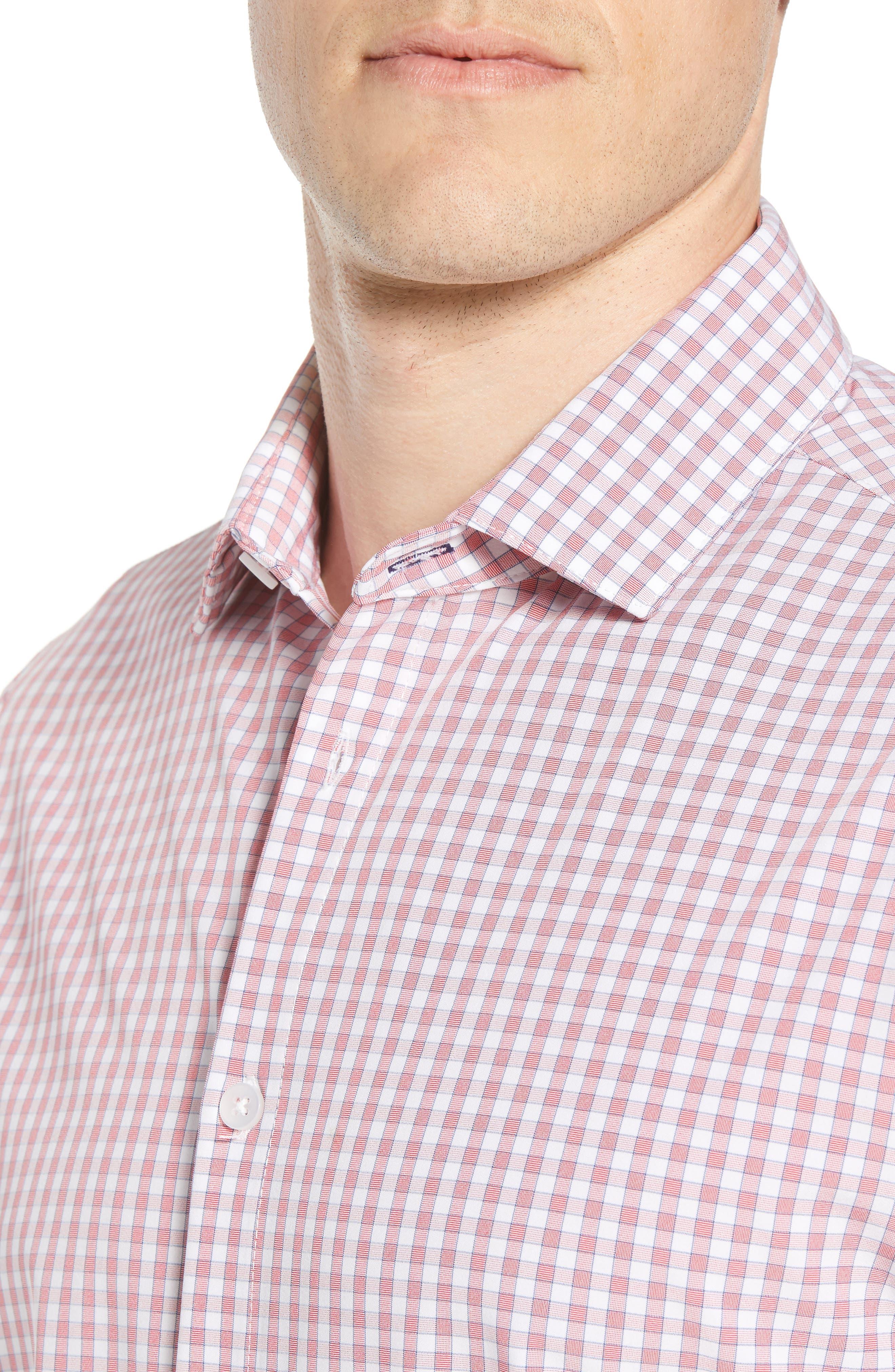 Stark Slim Fit Gingham Performance Sport Shirt,                             Alternate thumbnail 2, color,                             Red