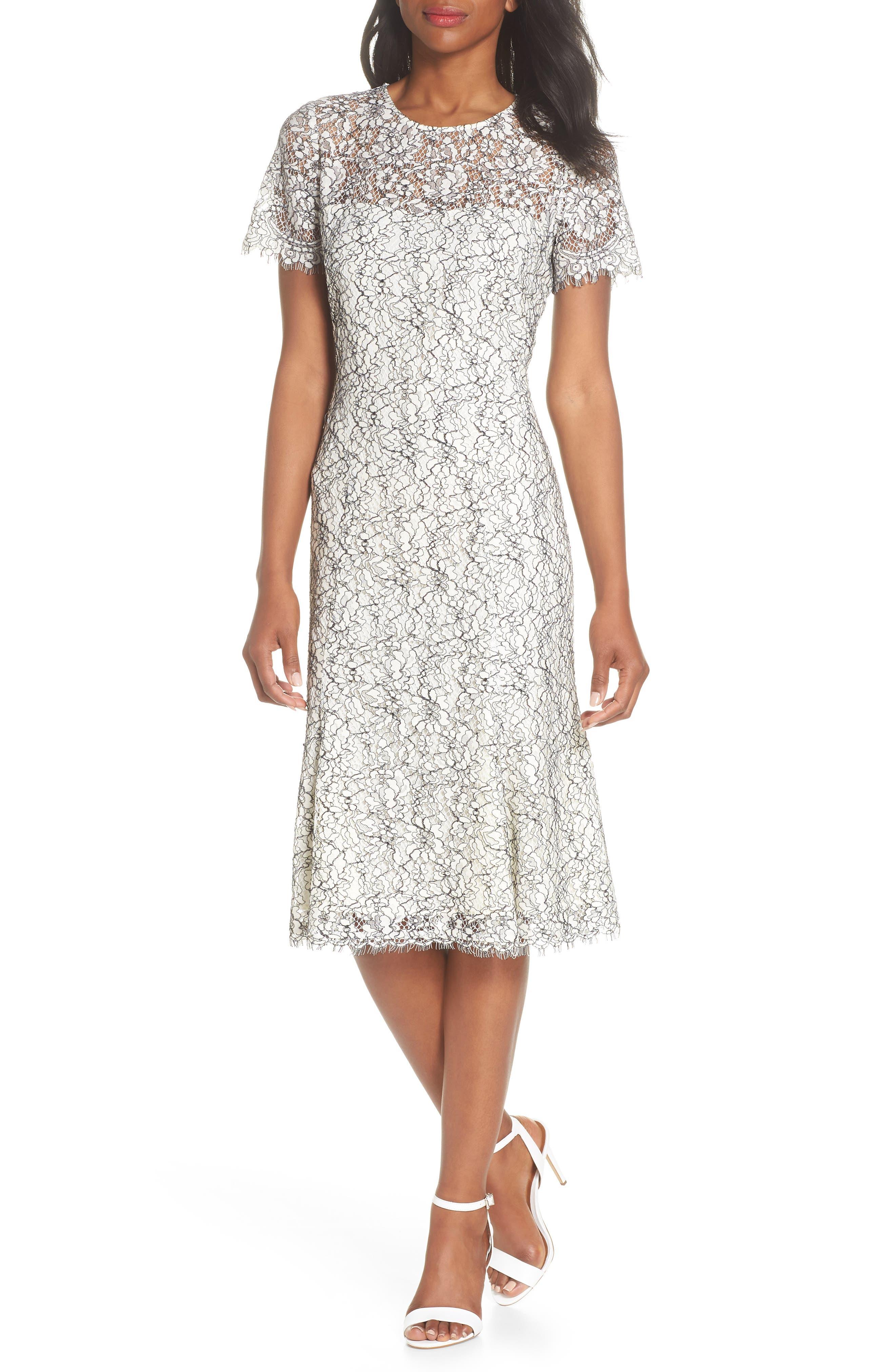 Two-Tone Lace A-Line Dress,                             Main thumbnail 1, color,                             Ivory/ Black