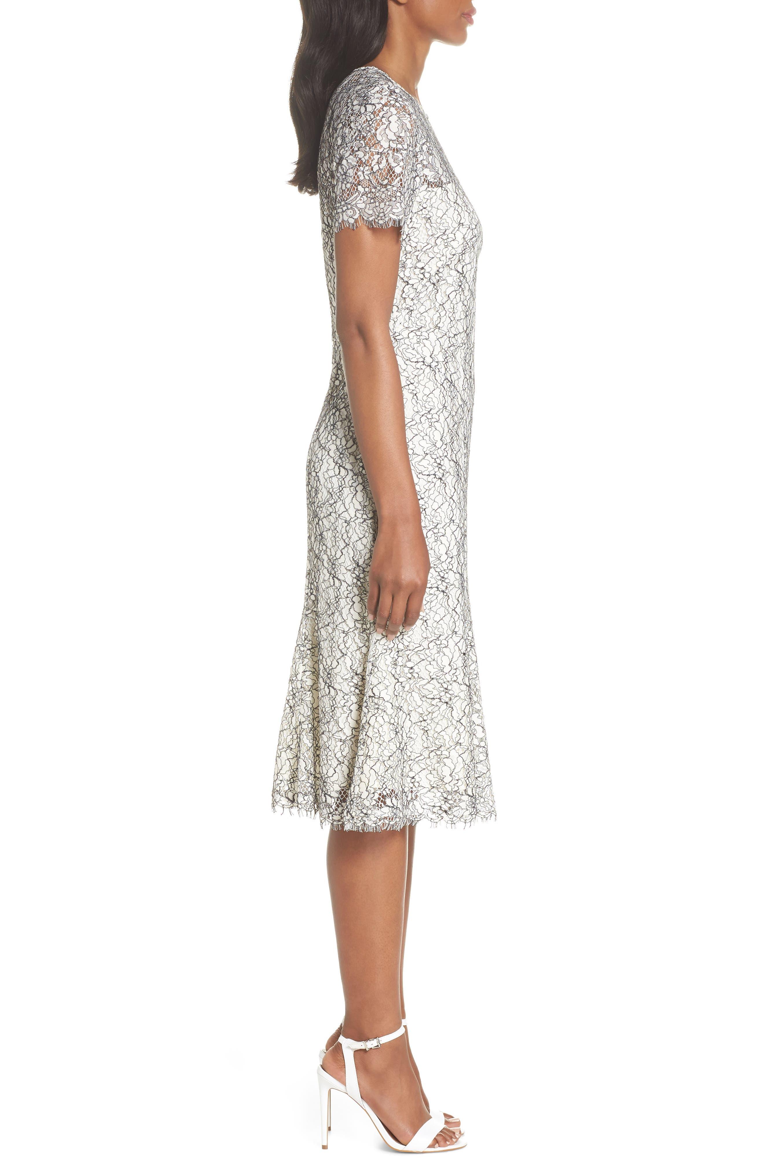 Two-Tone Lace A-Line Dress,                             Alternate thumbnail 3, color,                             Ivory/ Black