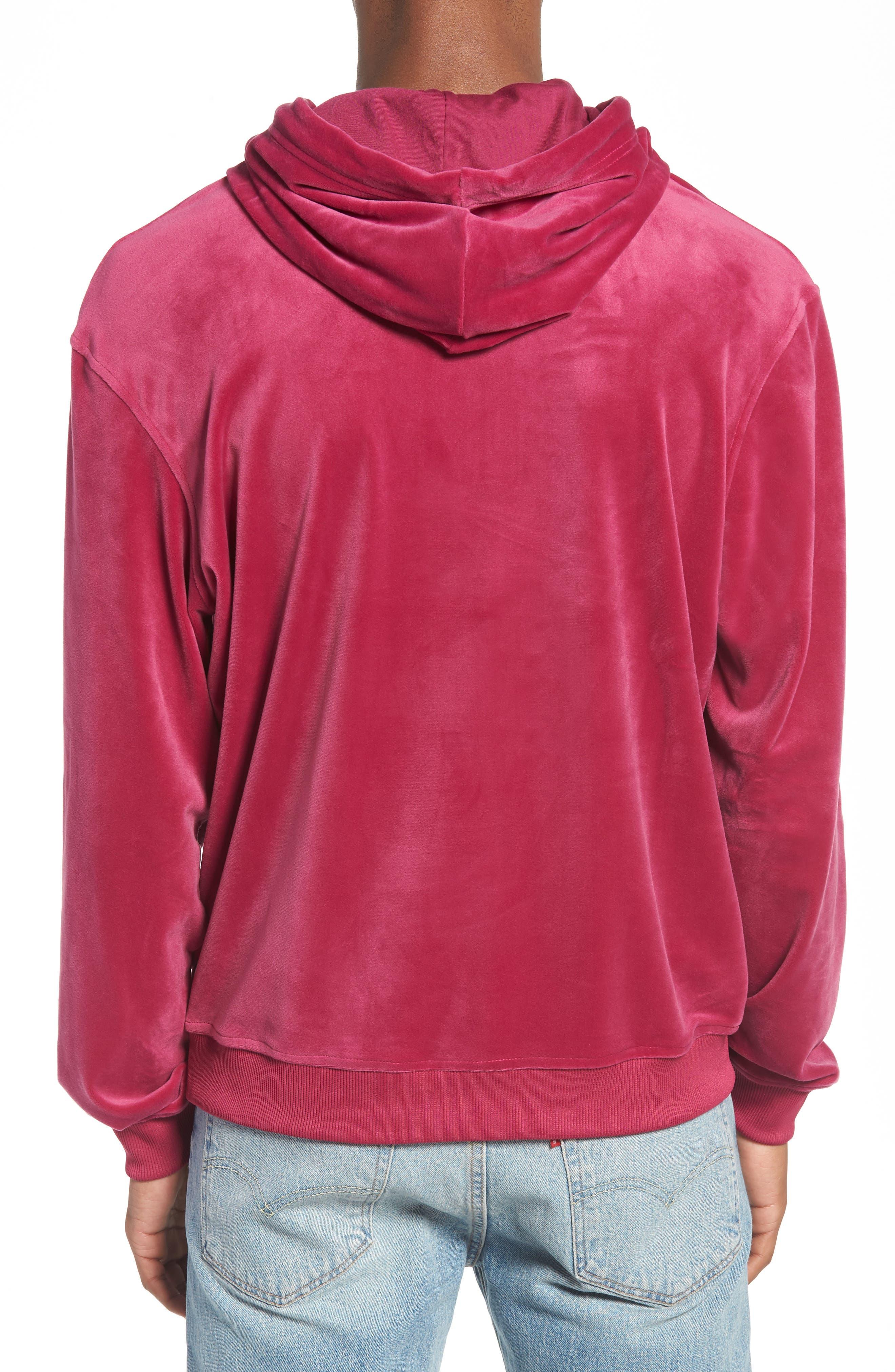 Asher Velour Hoodie Sweatshirt,                             Alternate thumbnail 2, color,                             Rasberry Radiance