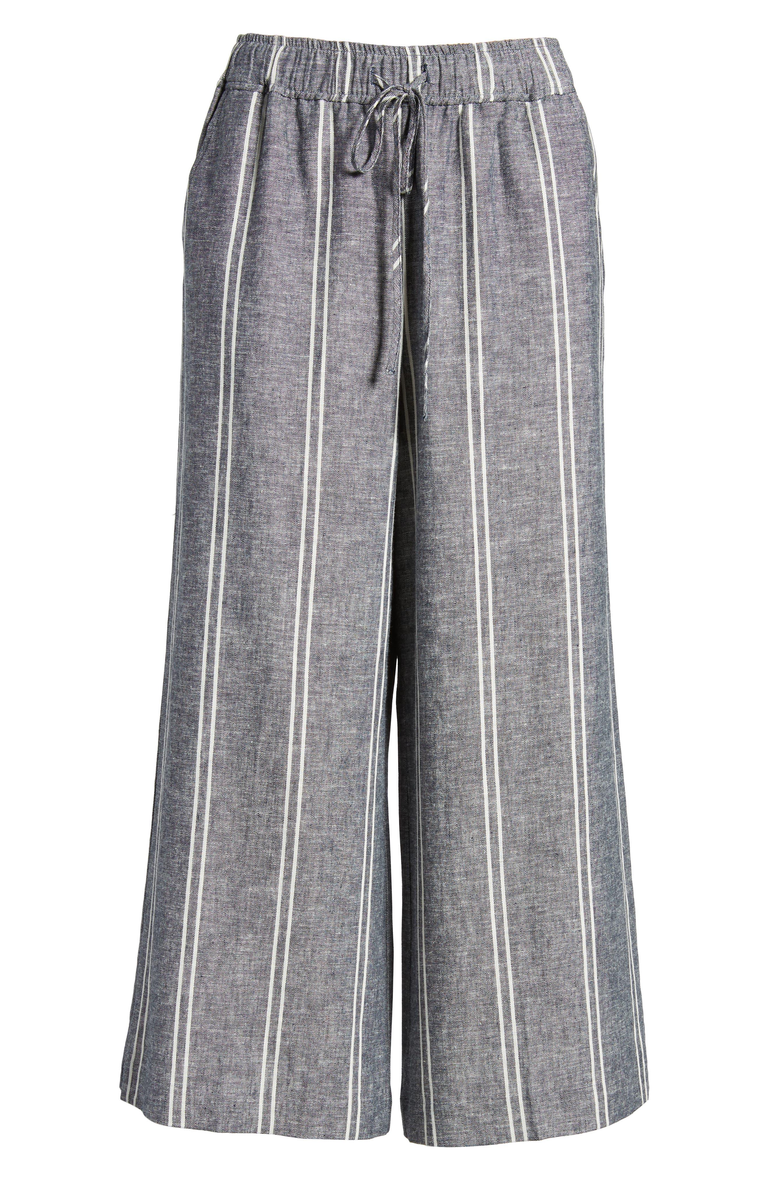 Stripe Linen Blend Culottes,                             Alternate thumbnail 7, color,                             Navy Peacoat Chambray Stripe
