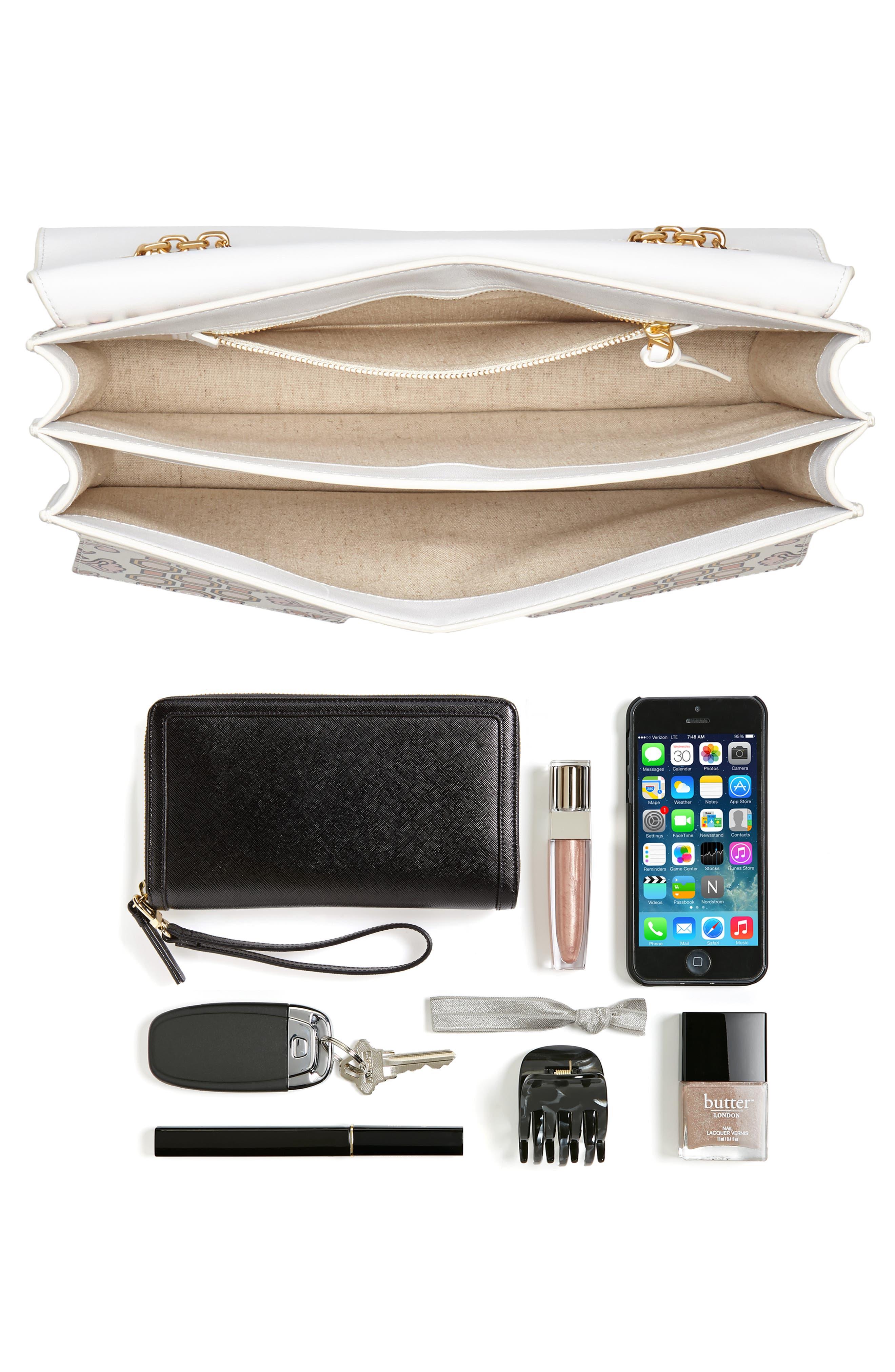 Large Gemini Link Print Leather Shoulder Bag,                             Alternate thumbnail 7, color,