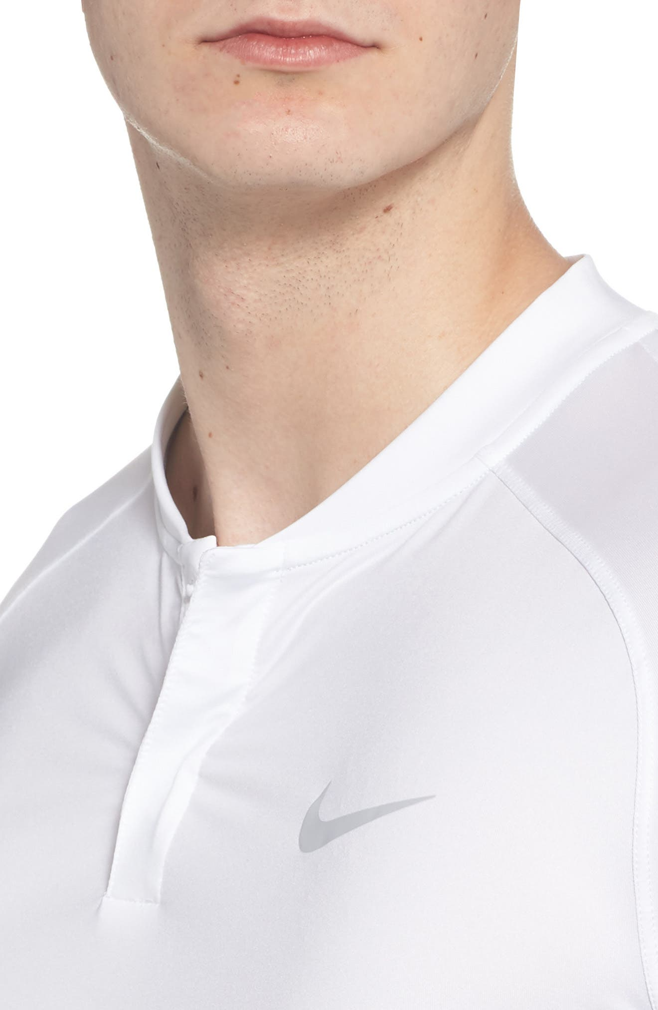 Dry Dynamic Slim Fit Polo,                             Alternate thumbnail 4, color,                             White/ Silver