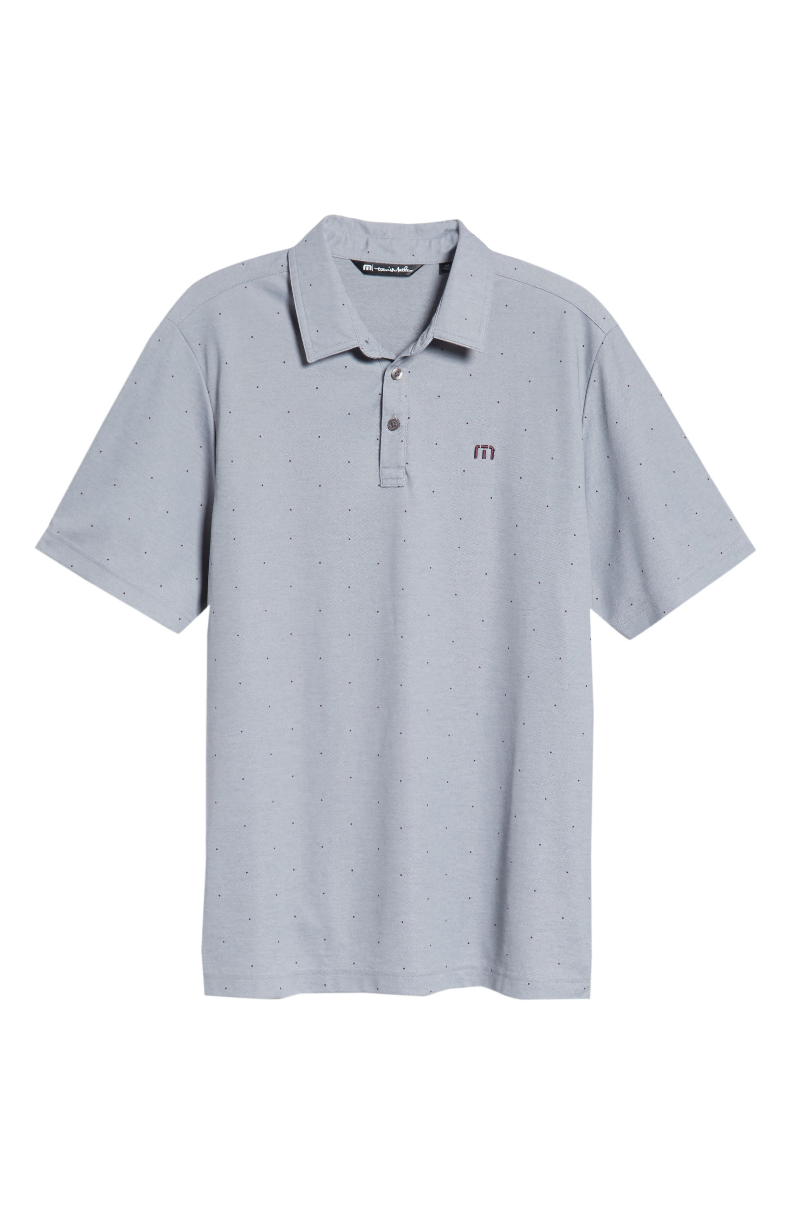 'JJ's Legacy' Trim Fit Polka Dot Polo,                             Alternate thumbnail 6, color,                             Heather Quiet Shade