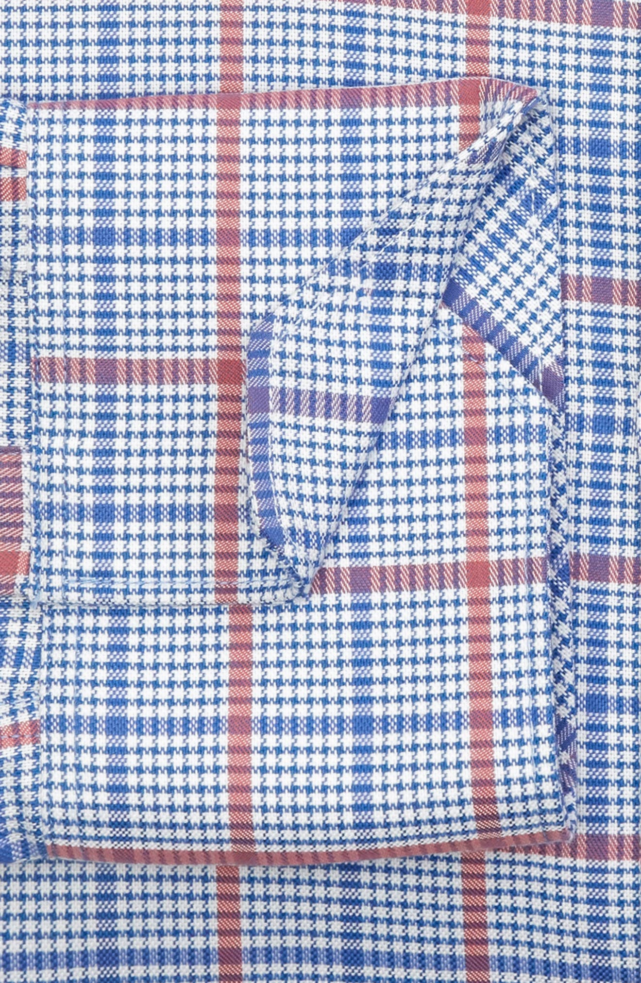 Kai Trim Fit Check Dress Shirt,                             Alternate thumbnail 5, color,                             Red/ Blue