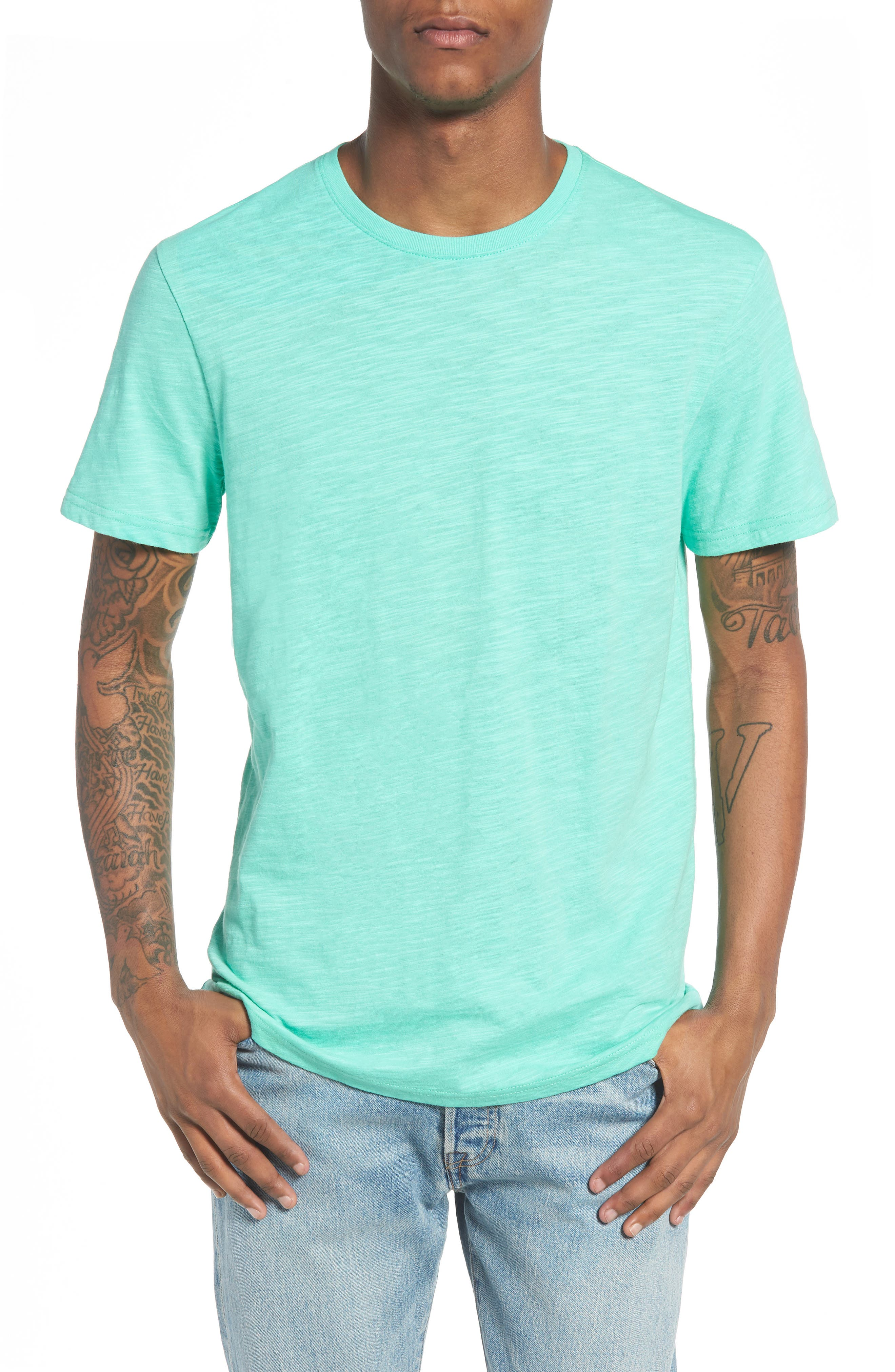 Slub Knit T-Shirt,                             Main thumbnail 1, color,                             Green Largo