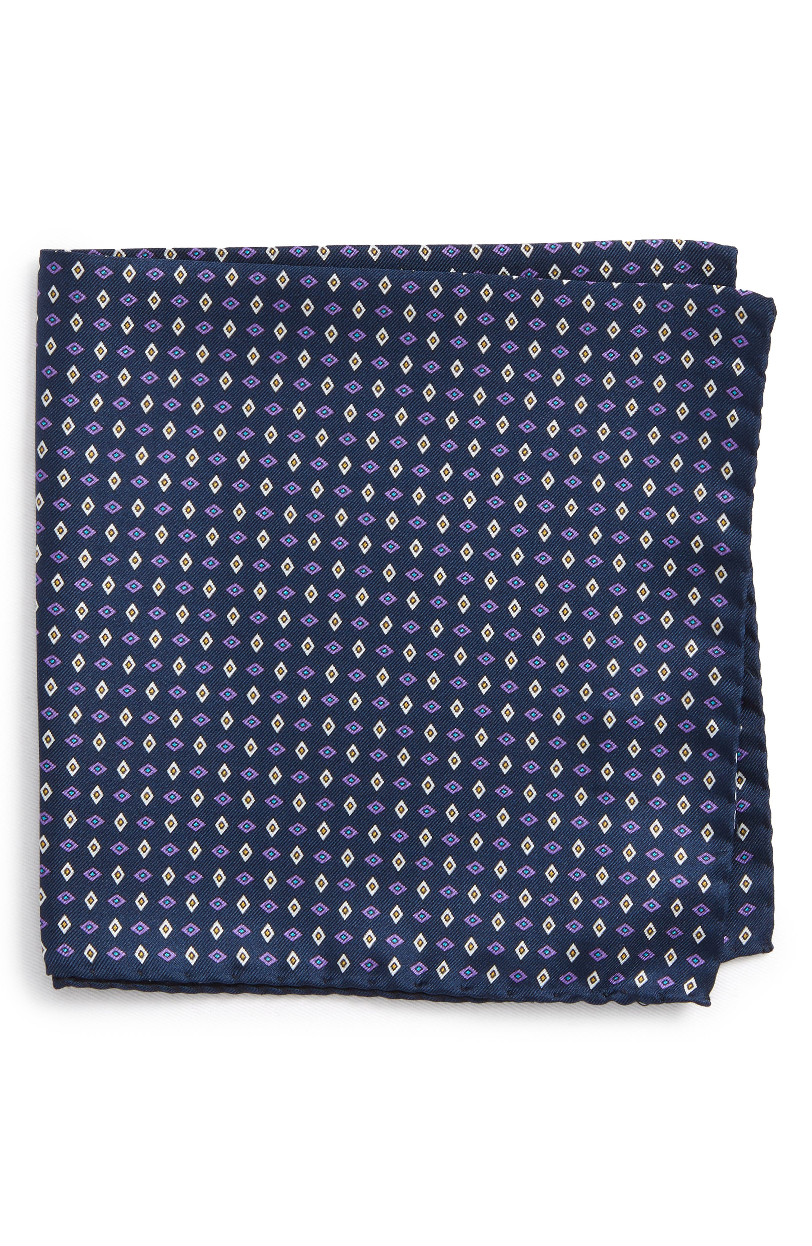 Geometric Grid Silk Pocket Square,                         Main,                         color, Navy