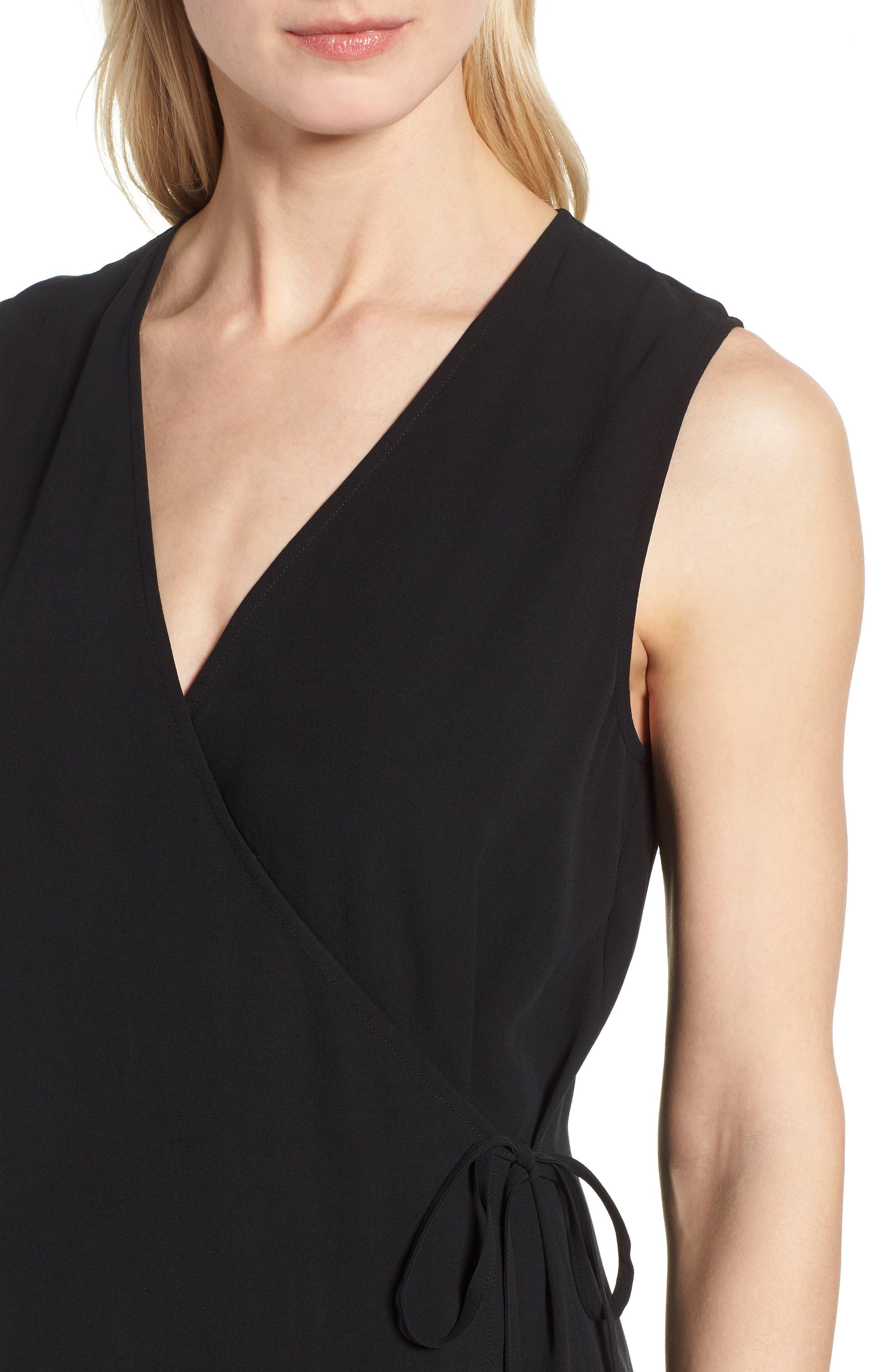 Silk Wrap Dress,                             Alternate thumbnail 4, color,                             Black