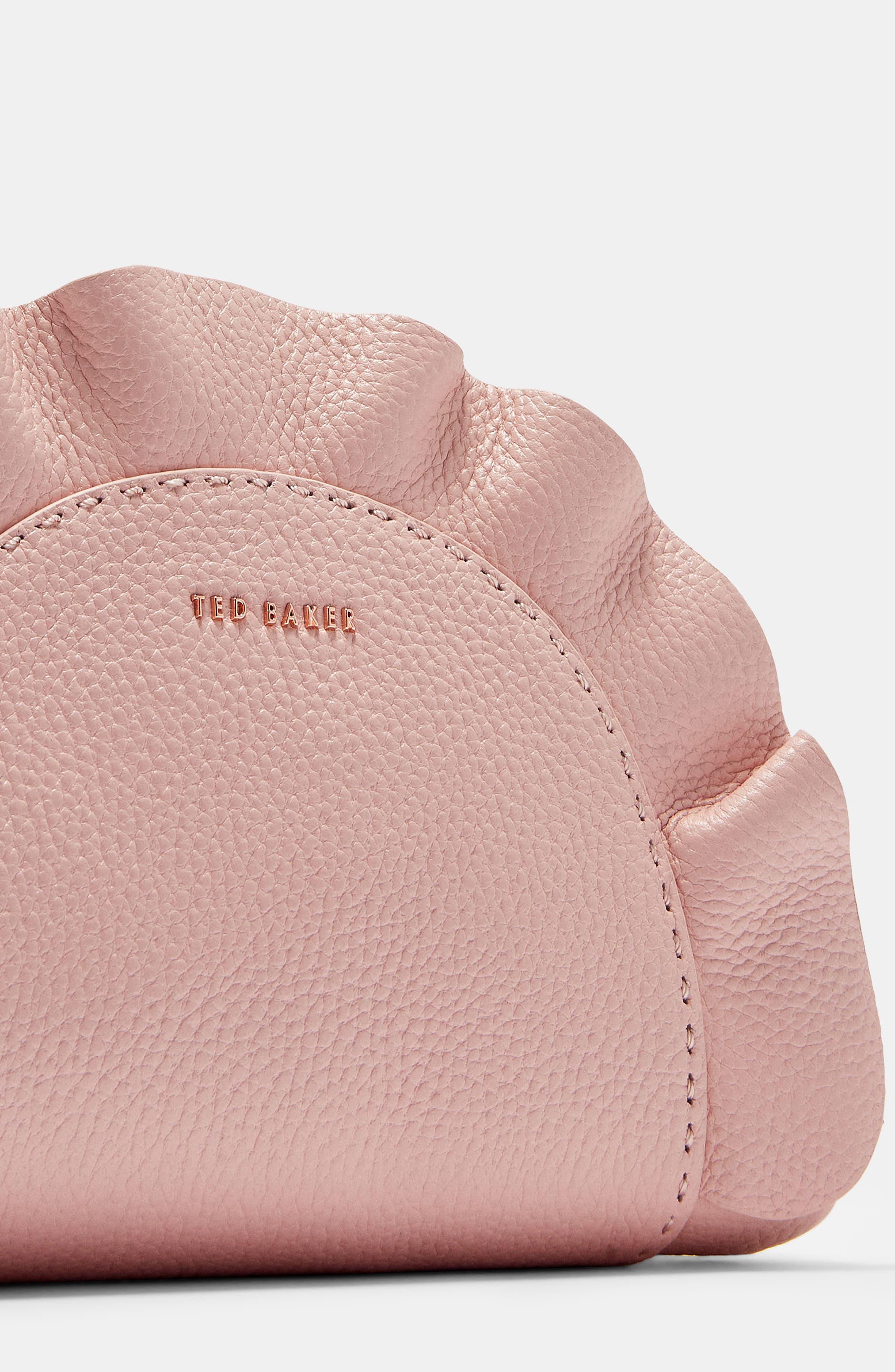 Ruffle Half Moon Leather Crossbody Bag,                             Alternate thumbnail 5, color,                             Light Pink