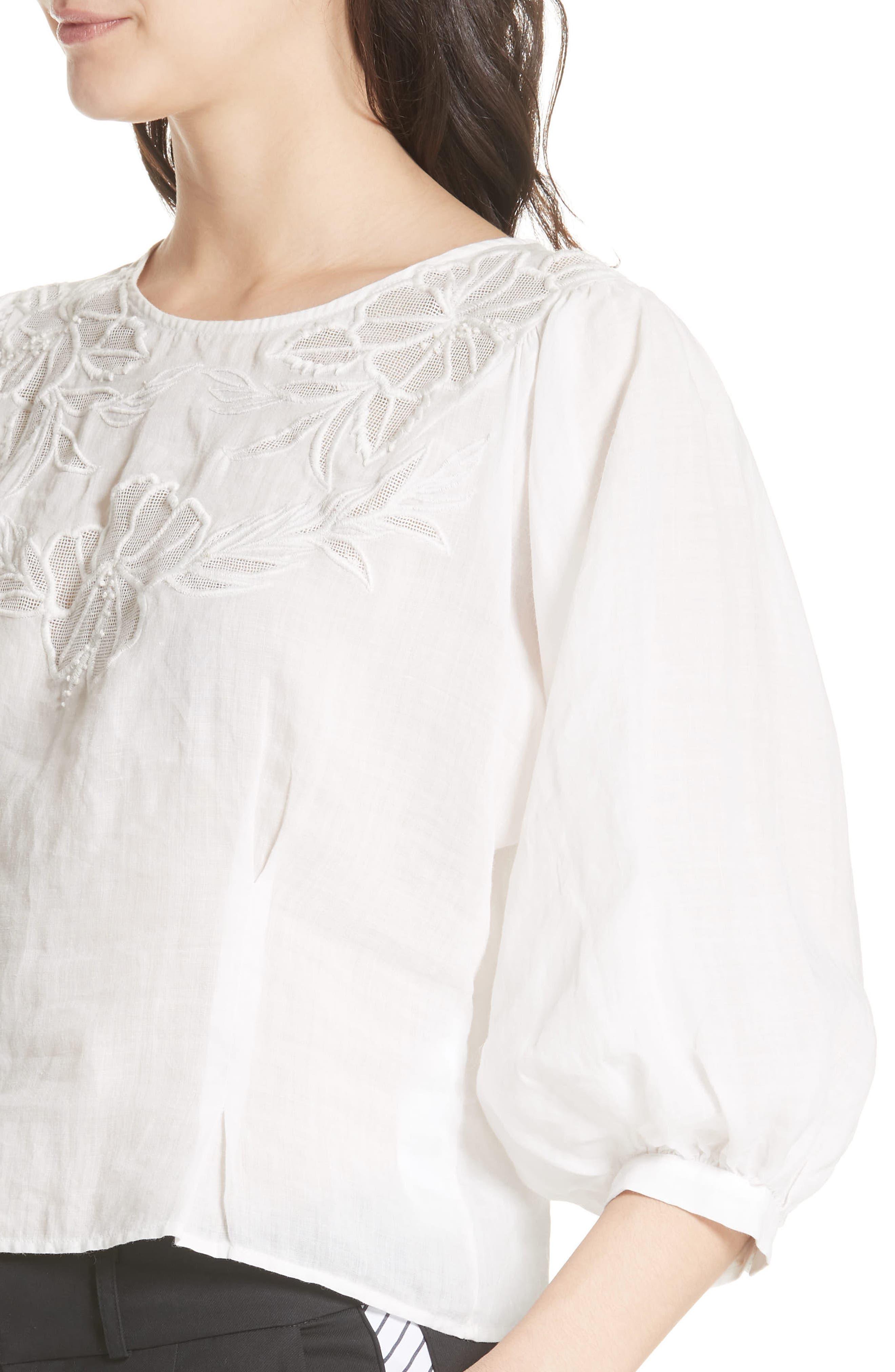 Radeli Bell Sleeve Top,                             Alternate thumbnail 4, color,                             Porcelain