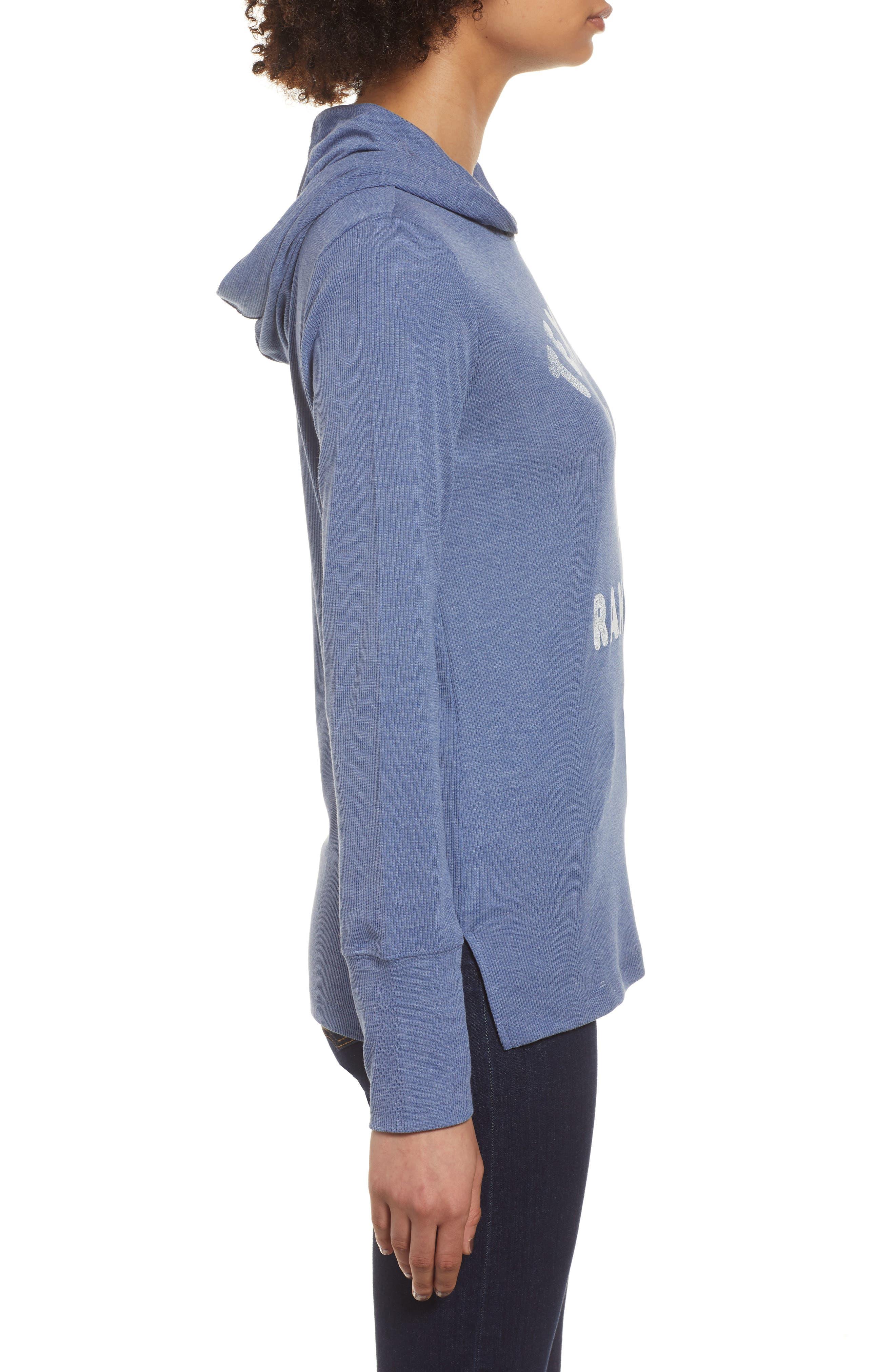 Campbell Texas Rangers Rib Knit Hooded Top,                             Alternate thumbnail 3, color,                             Bleacher Blue