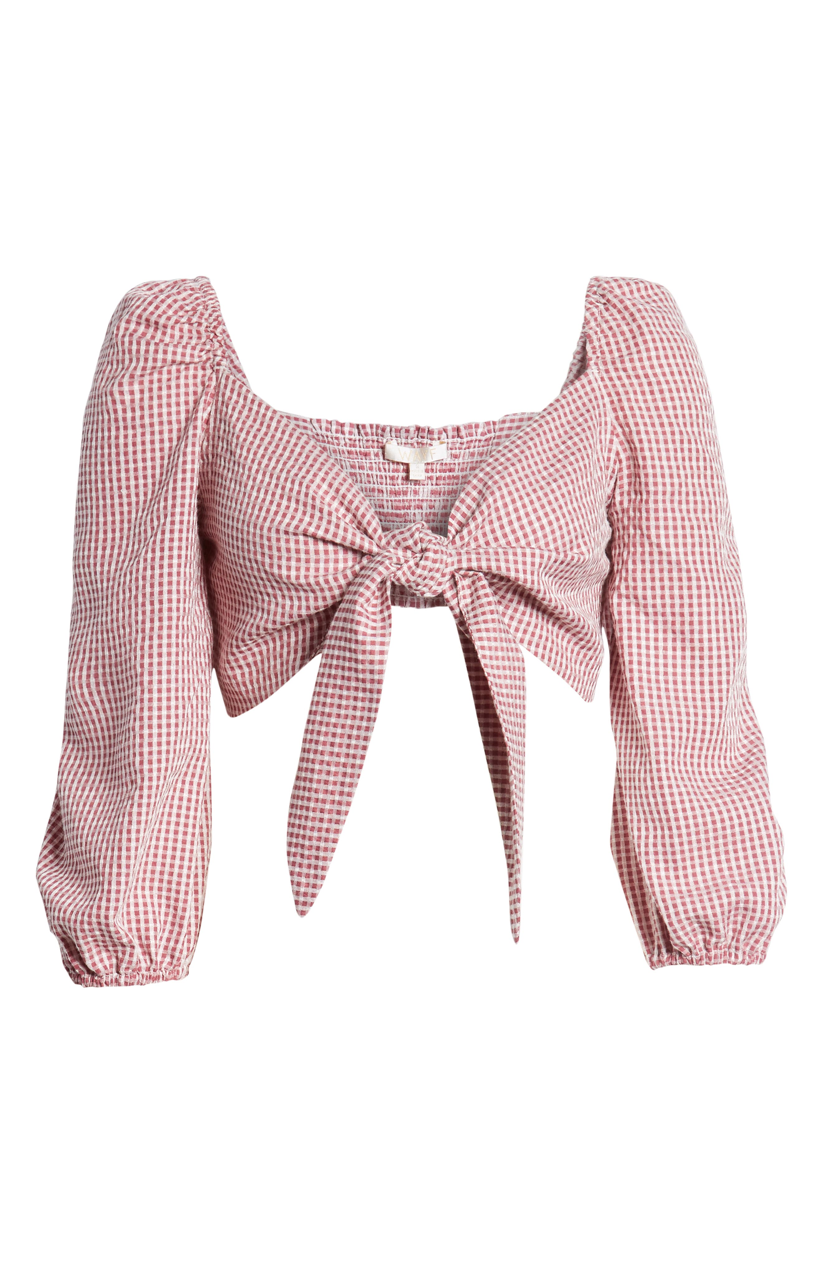 Digby Tie Front Crop Top,                             Alternate thumbnail 8, color,                             Red Gingham