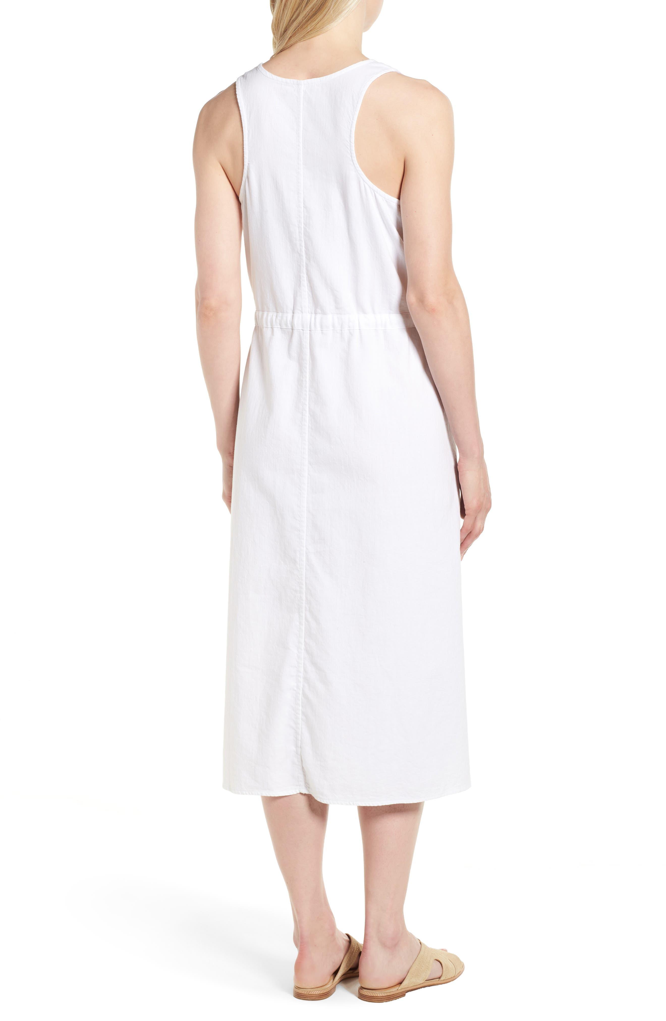 Drawstring Organic Cotton Midi Dress,                             Alternate thumbnail 2, color,                             White