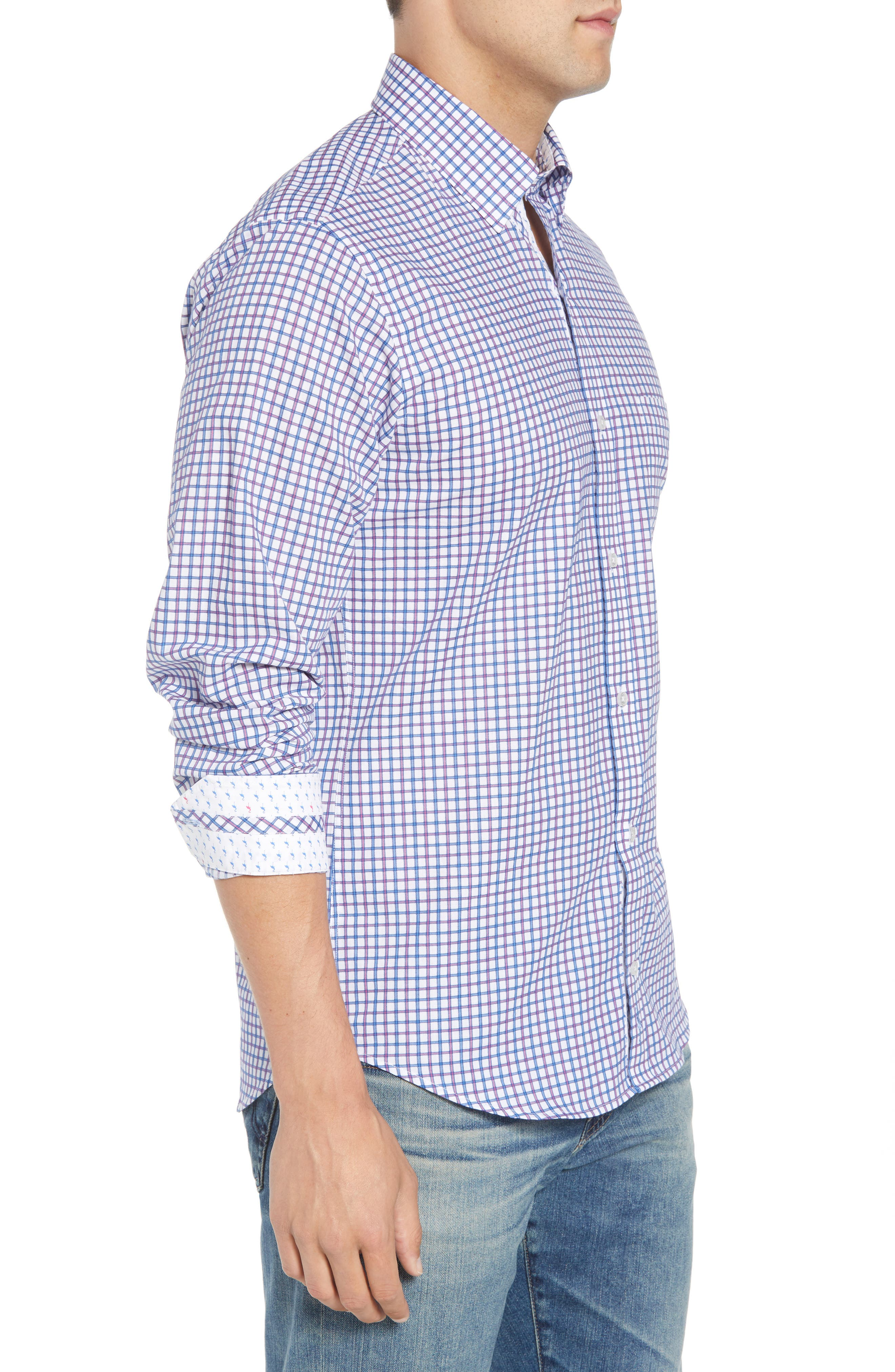 Beck Regular Fit Windowpane Sport Shirt,                             Alternate thumbnail 4, color,                             Blue