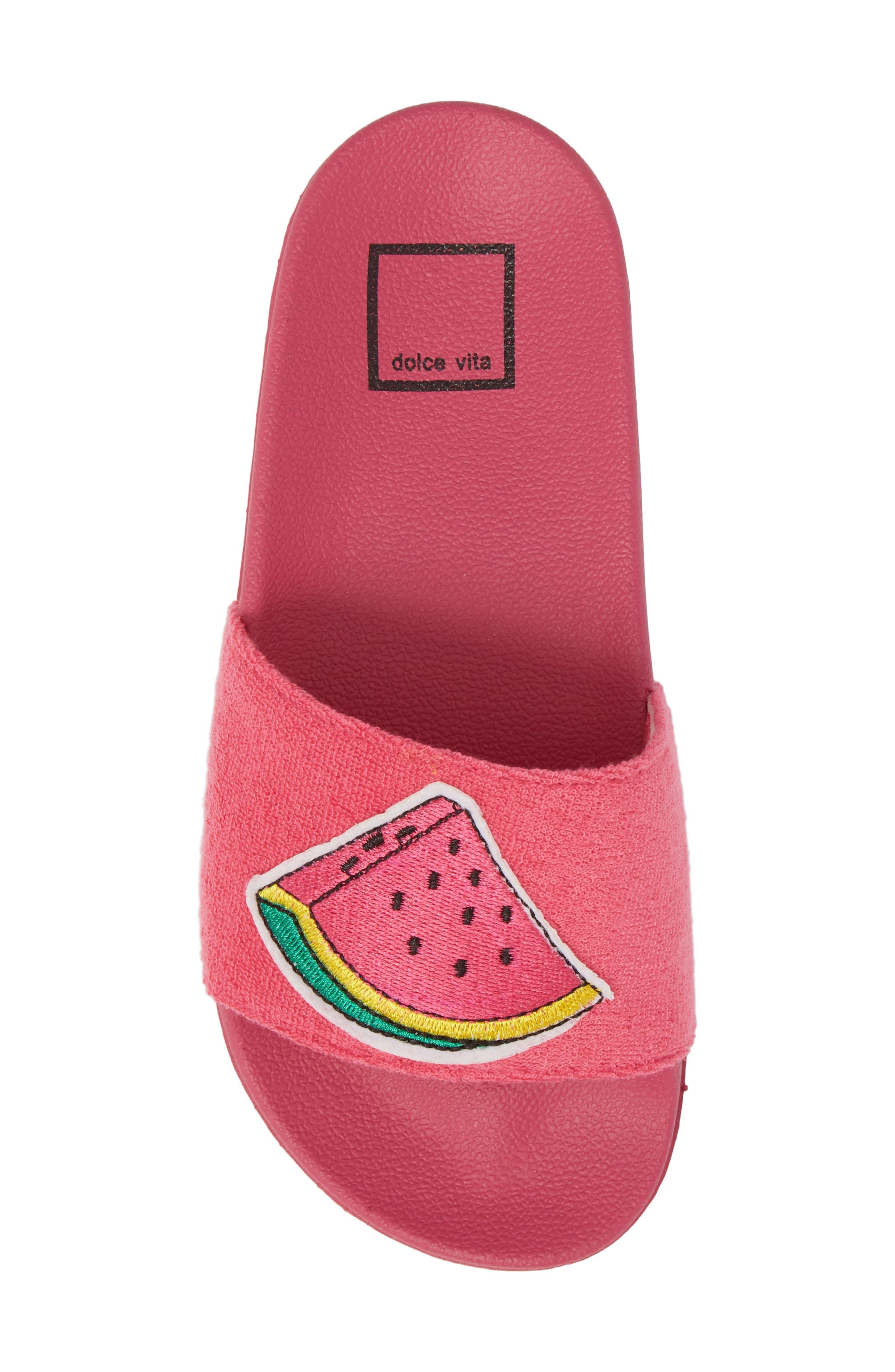 Selby Fruit Embroidered Sport Slide,                             Alternate thumbnail 5, color,                             Fuchsia
