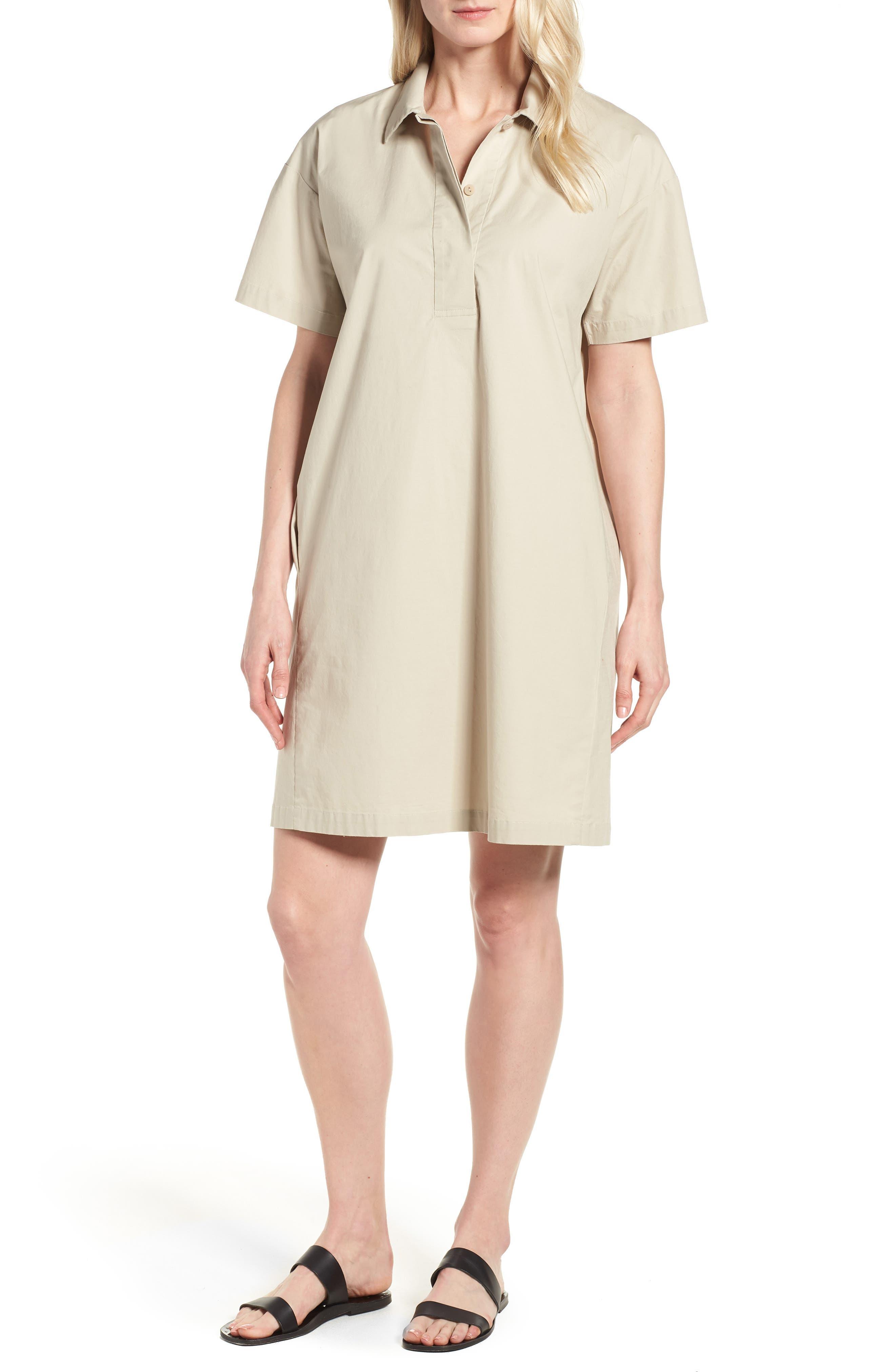Organic Cotton Poplin Shirtdress,                         Main,                         color, Pebble