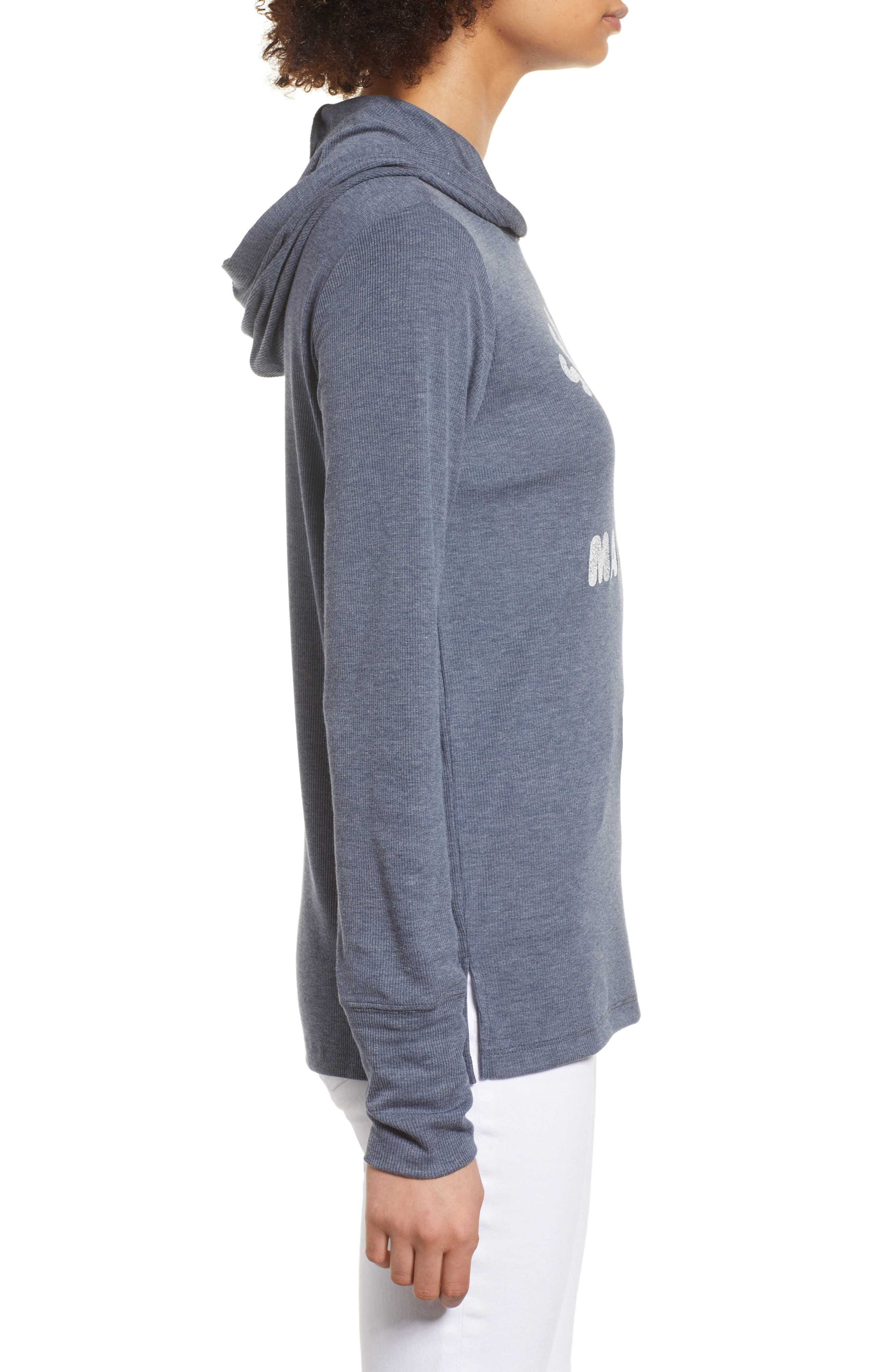 Campbell Seattle Mariners Rib Knit Hooded Top,                             Alternate thumbnail 3, color,                             Midnight