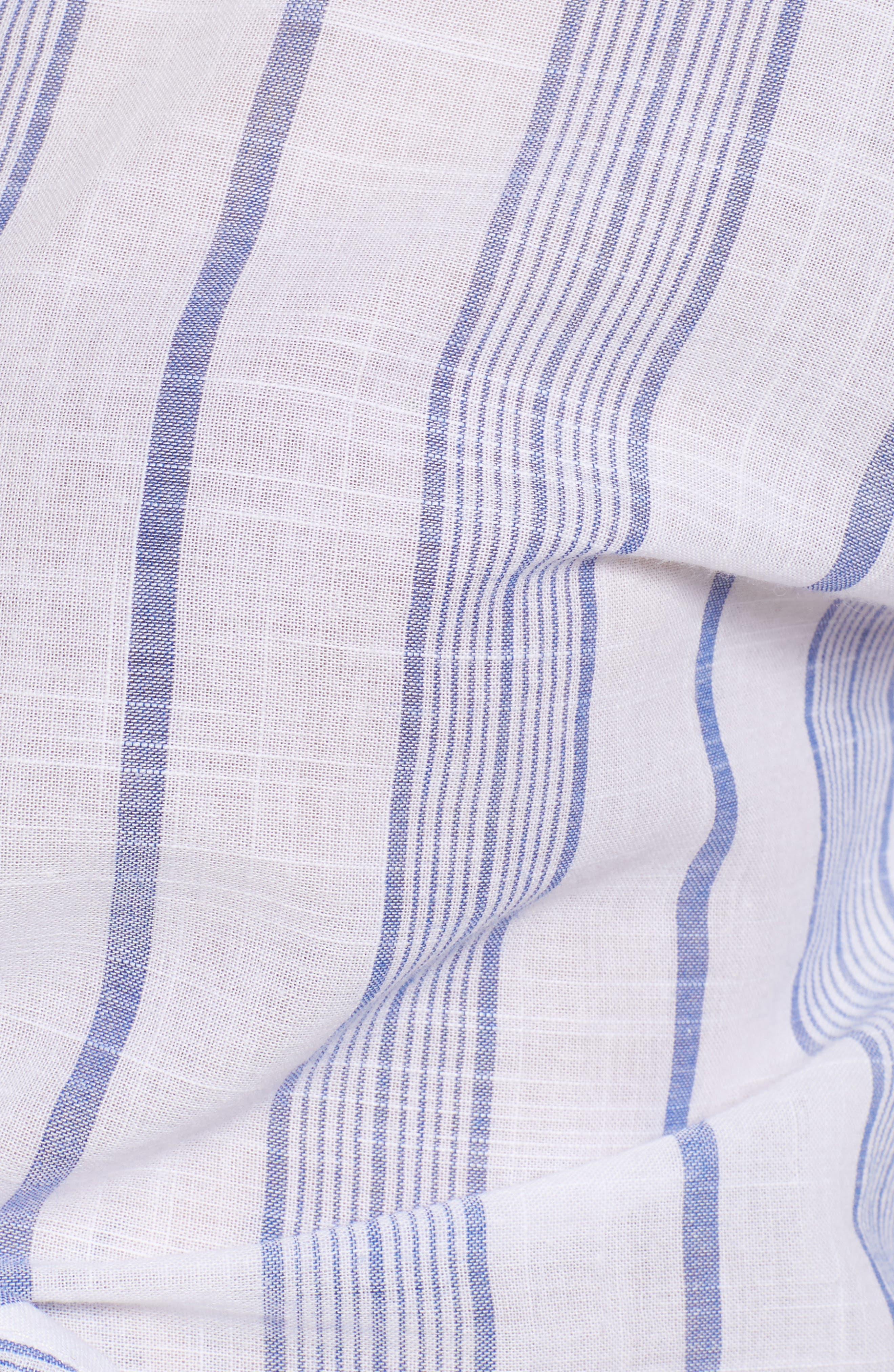 Stripe Tie Hem Crop Top,                             Alternate thumbnail 7, color,                             Sky Stripe