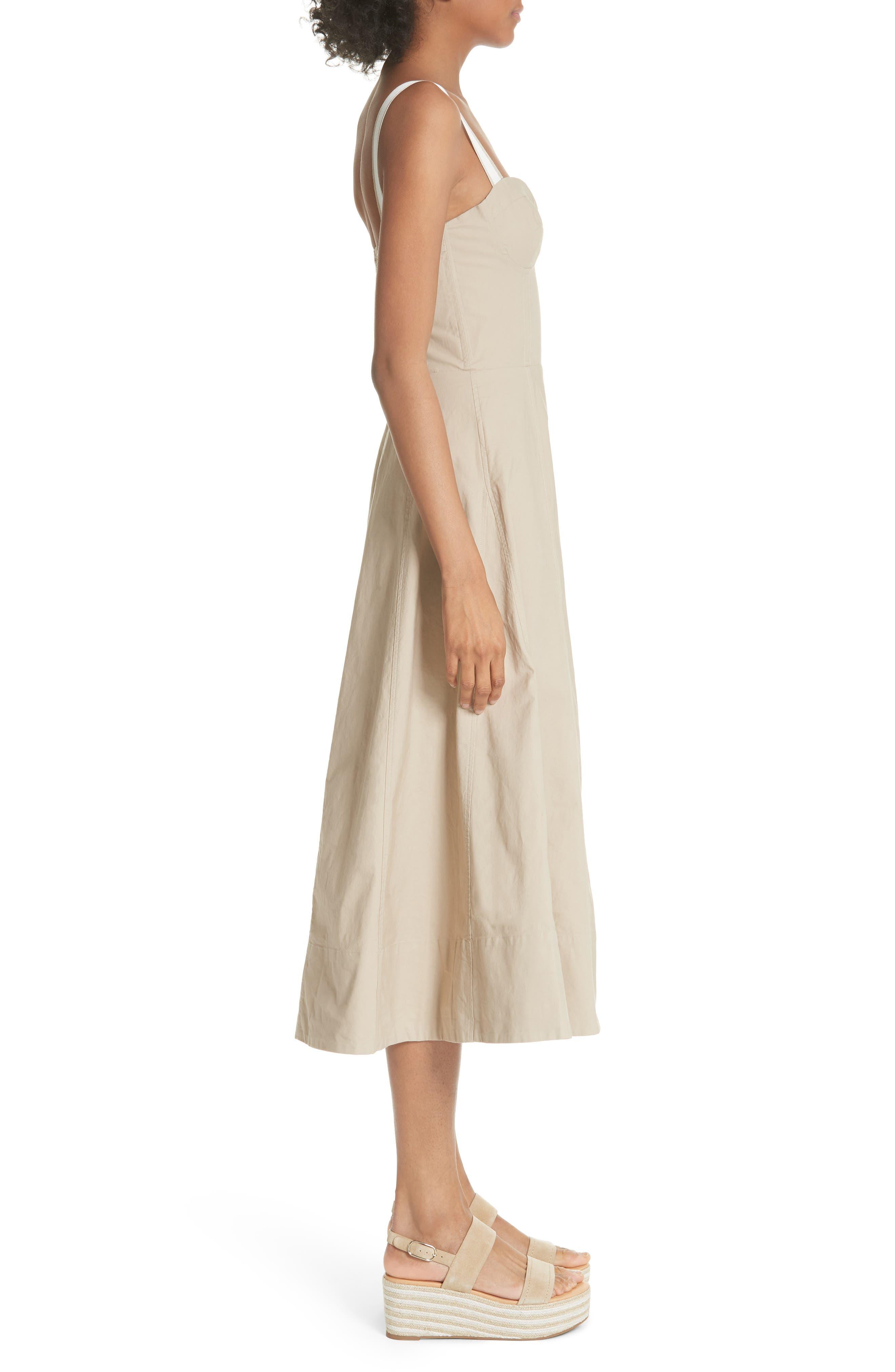 Briel Midi Dress,                             Alternate thumbnail 3, color,                             Light Sand