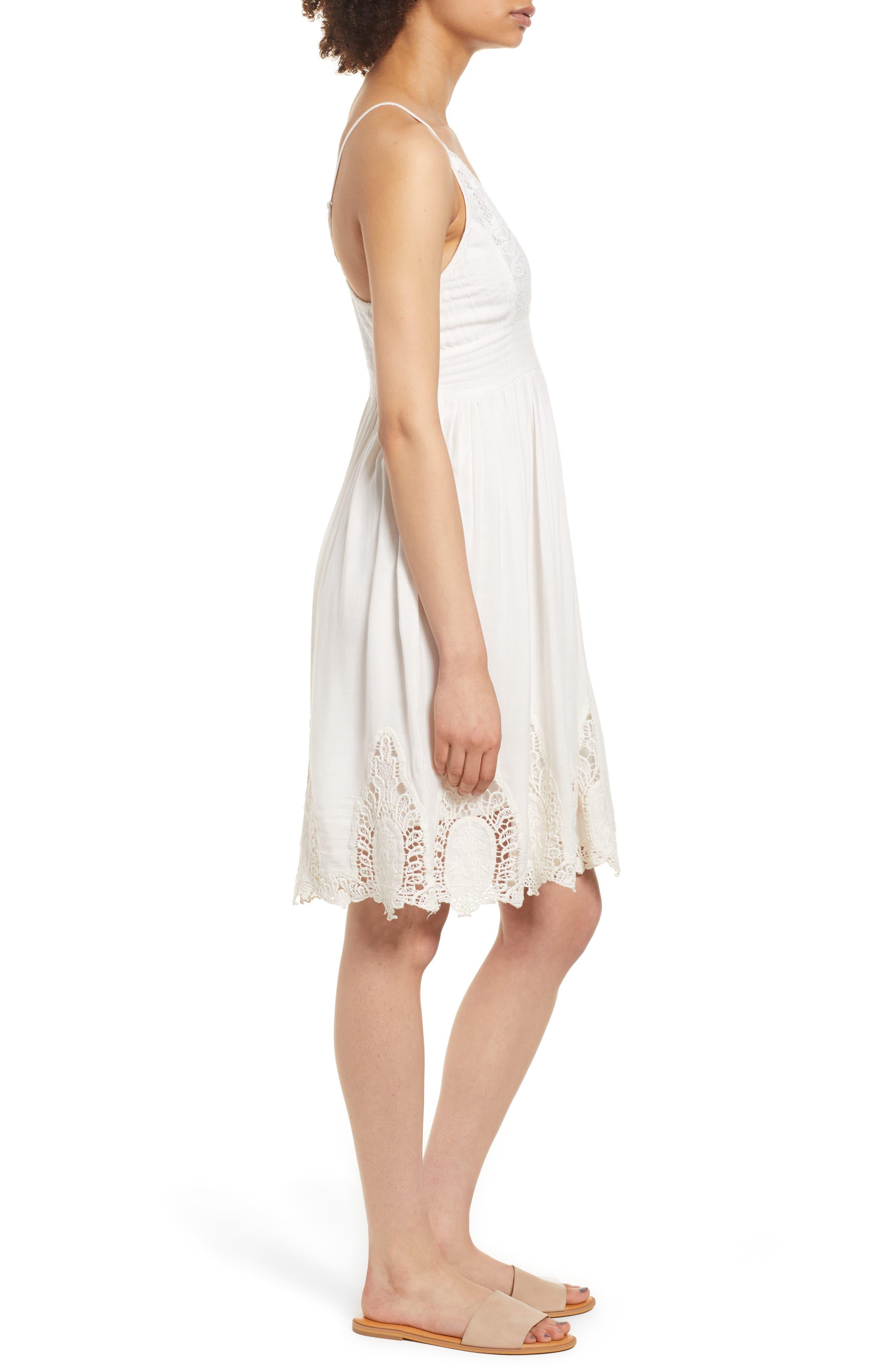 Janika Crochet & Lace Trim Dress,                             Alternate thumbnail 4, color,                             Eggshell