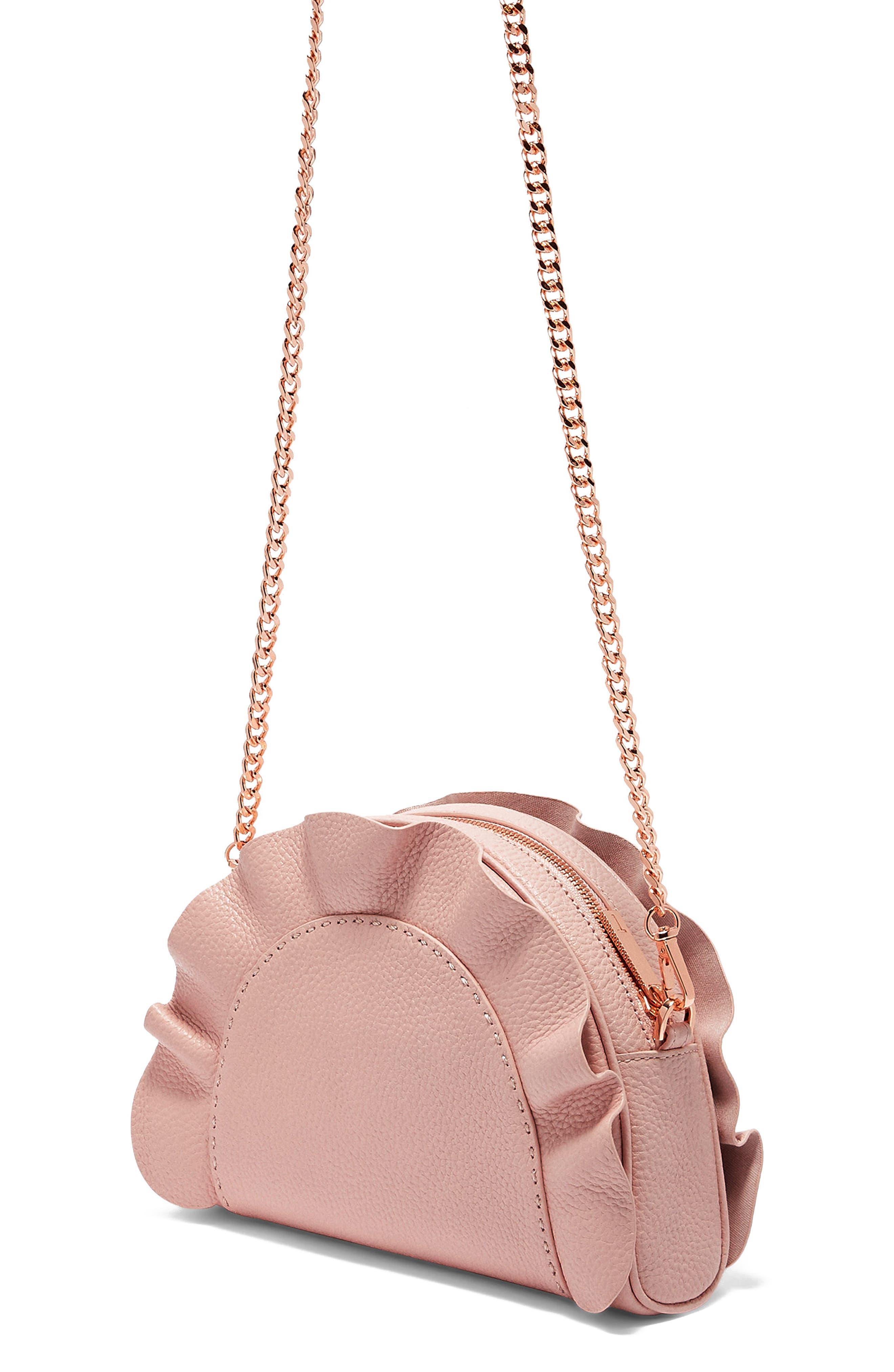 Ruffle Half Moon Leather Crossbody Bag,                             Alternate thumbnail 3, color,                             Light Pink