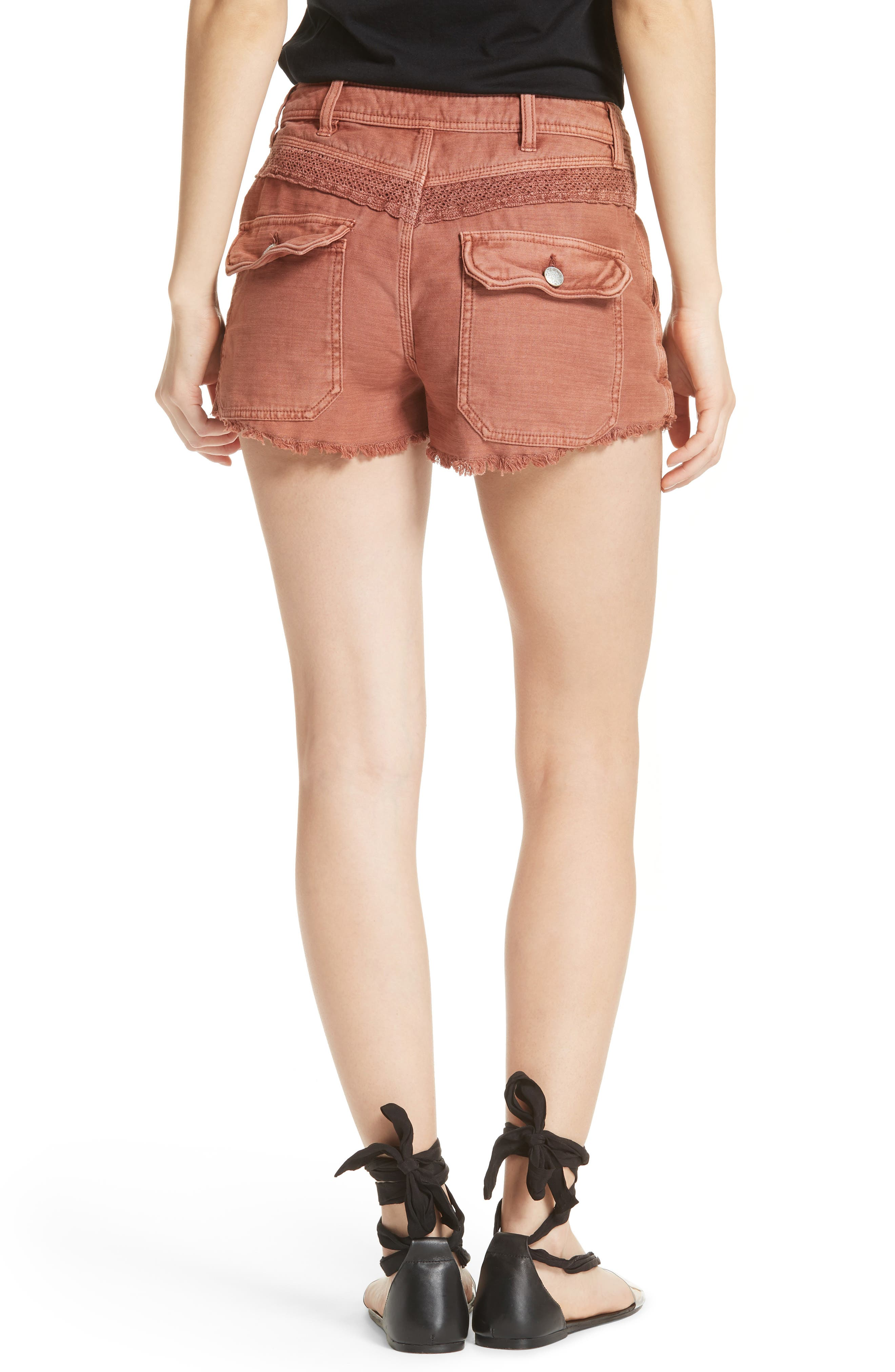 Great Expectations Lace Cutout Shorts,                             Alternate thumbnail 2, color,                             Peach