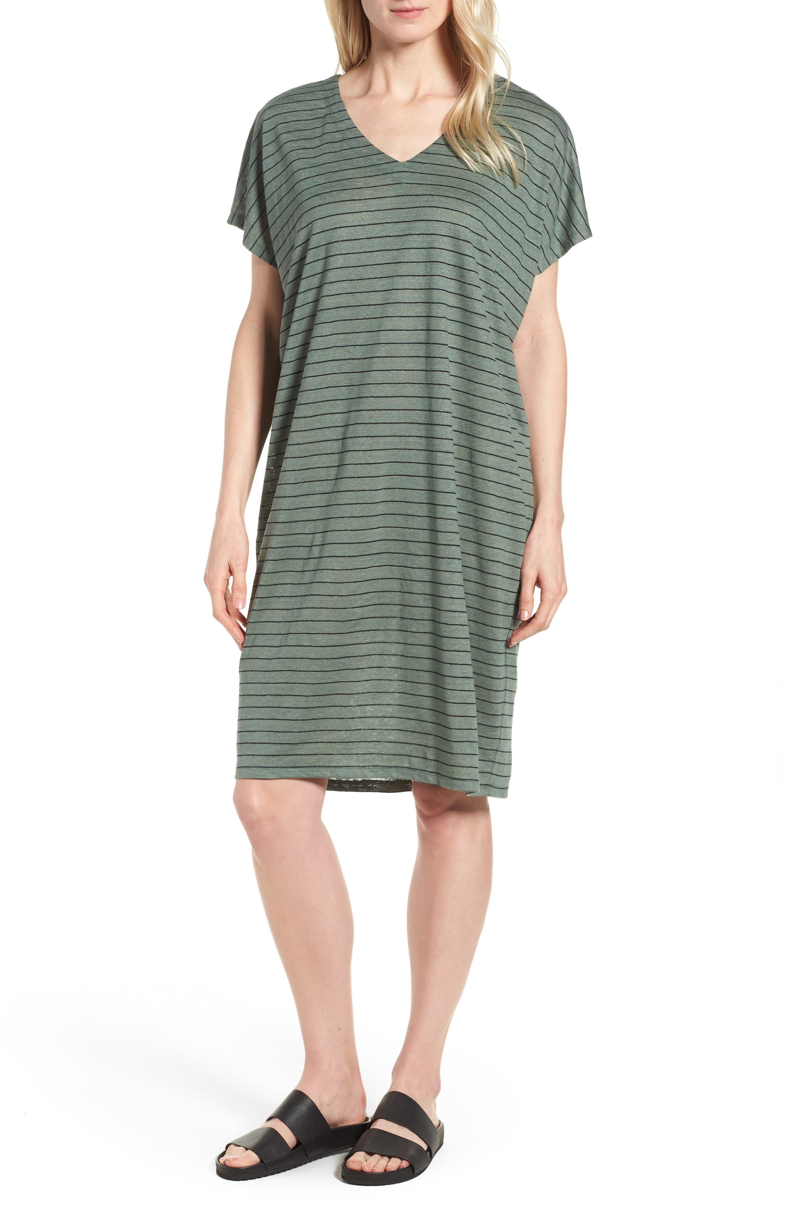 Stripe Organic Linen Shift Dress,                             Main thumbnail 1, color,                             Nori