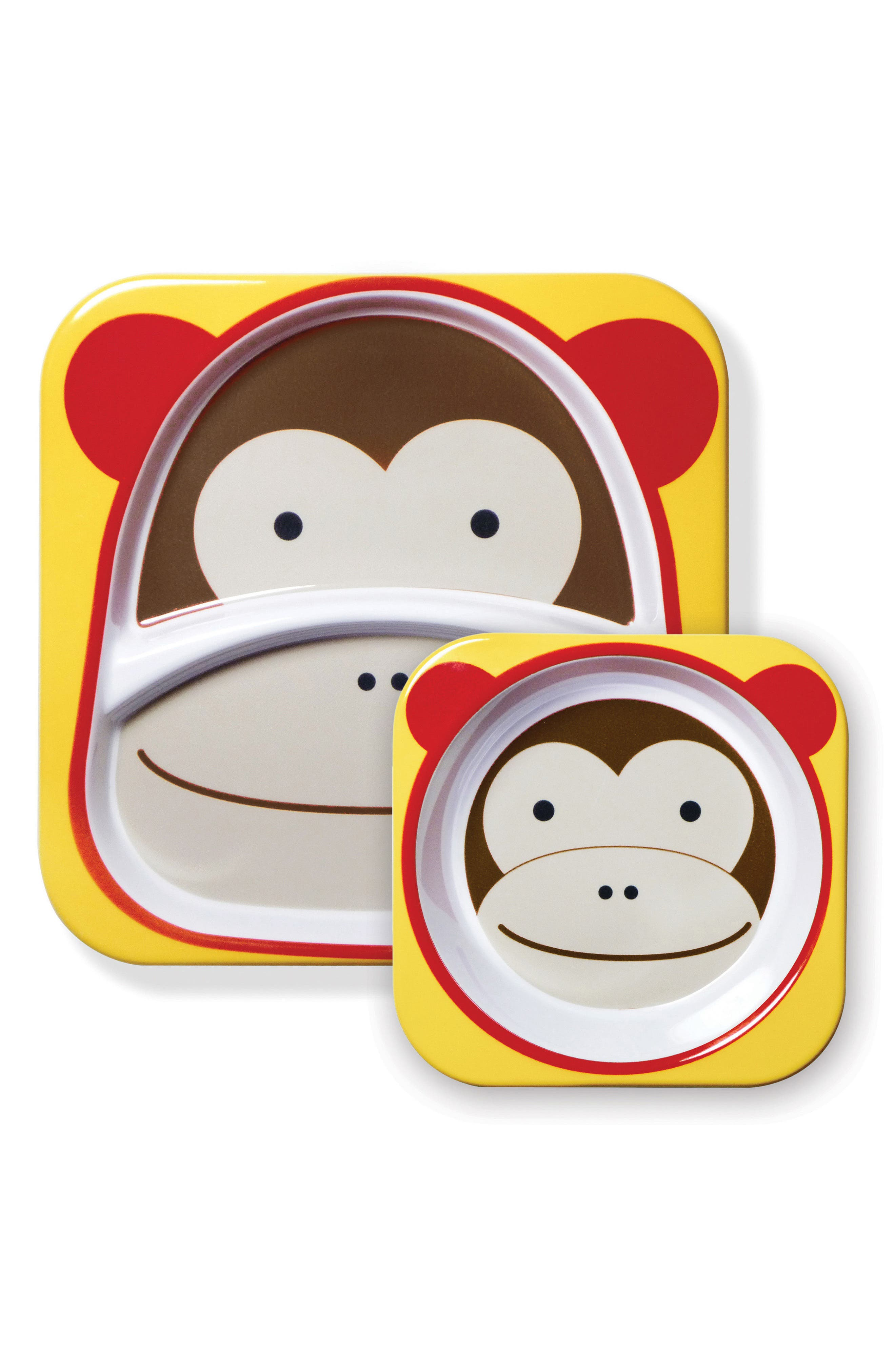 Zoo Melamine Plate & Bowl Set,                             Main thumbnail 1, color,                             Brown Monkey