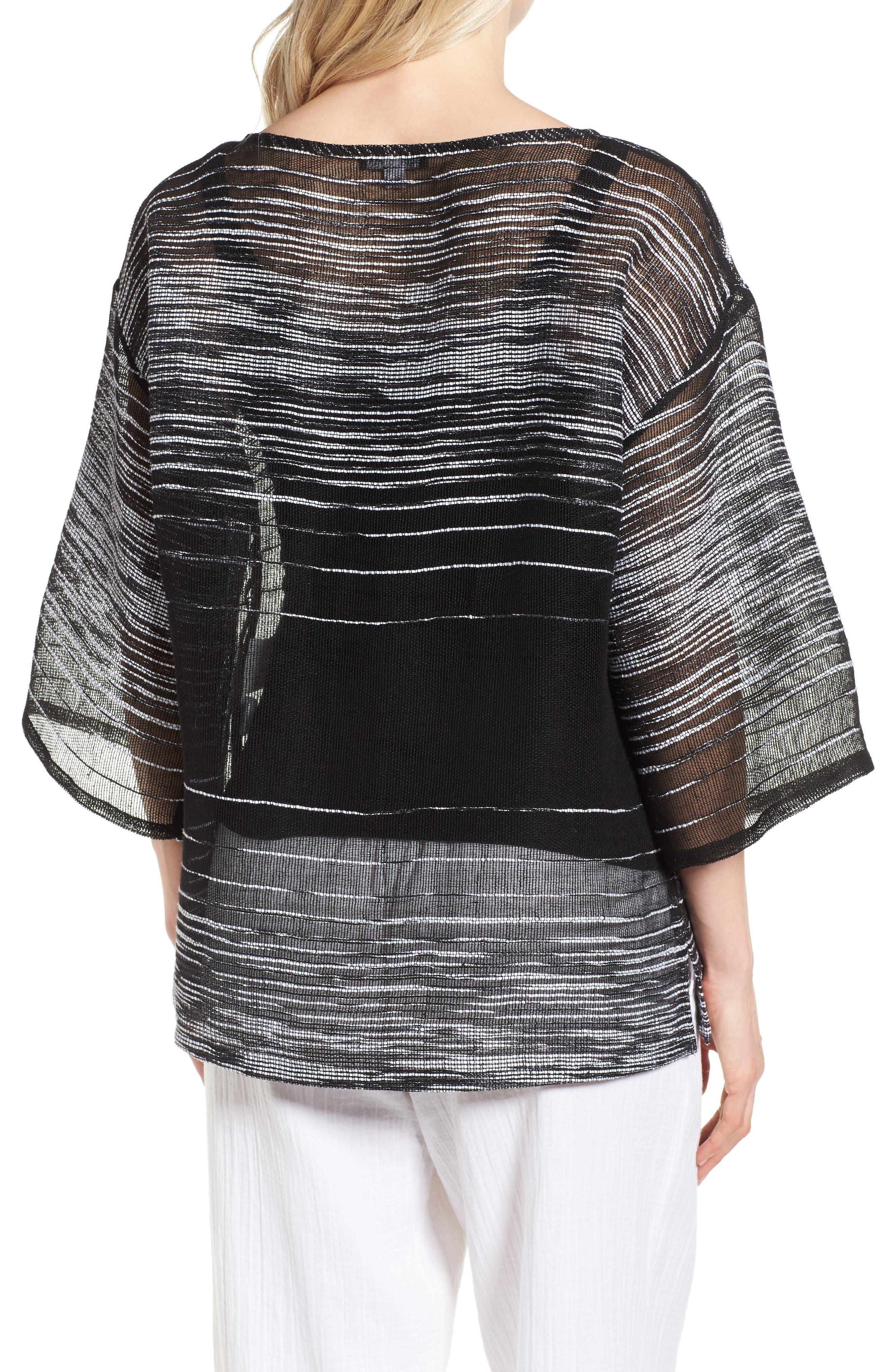 Organic Linen Blend Top,                             Alternate thumbnail 2, color,                             Black
