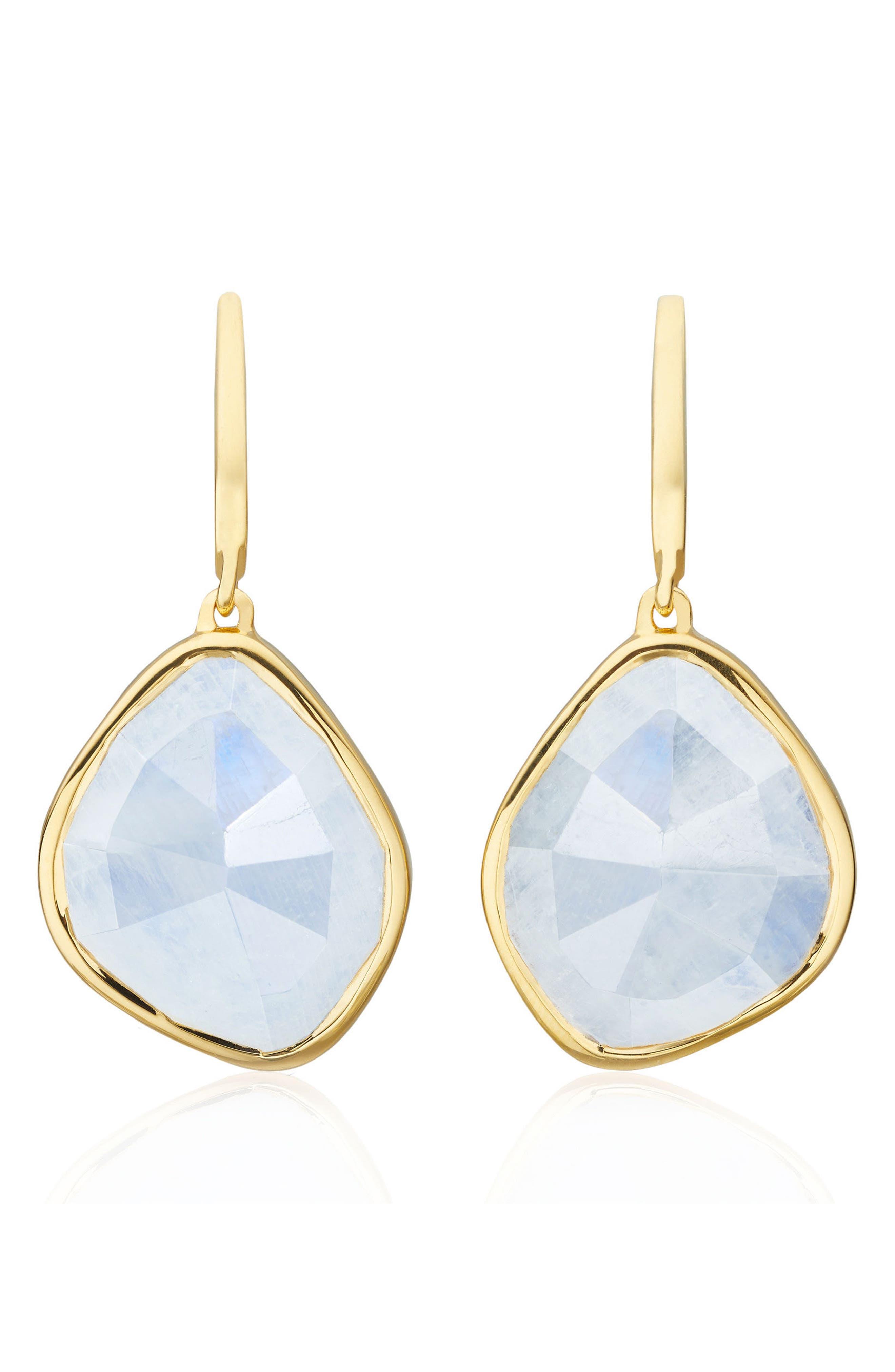 Siren Nugget Semiprecious Stone Drop Earrings,                             Main thumbnail 1, color,                             Yellow Gold/ Moonstone