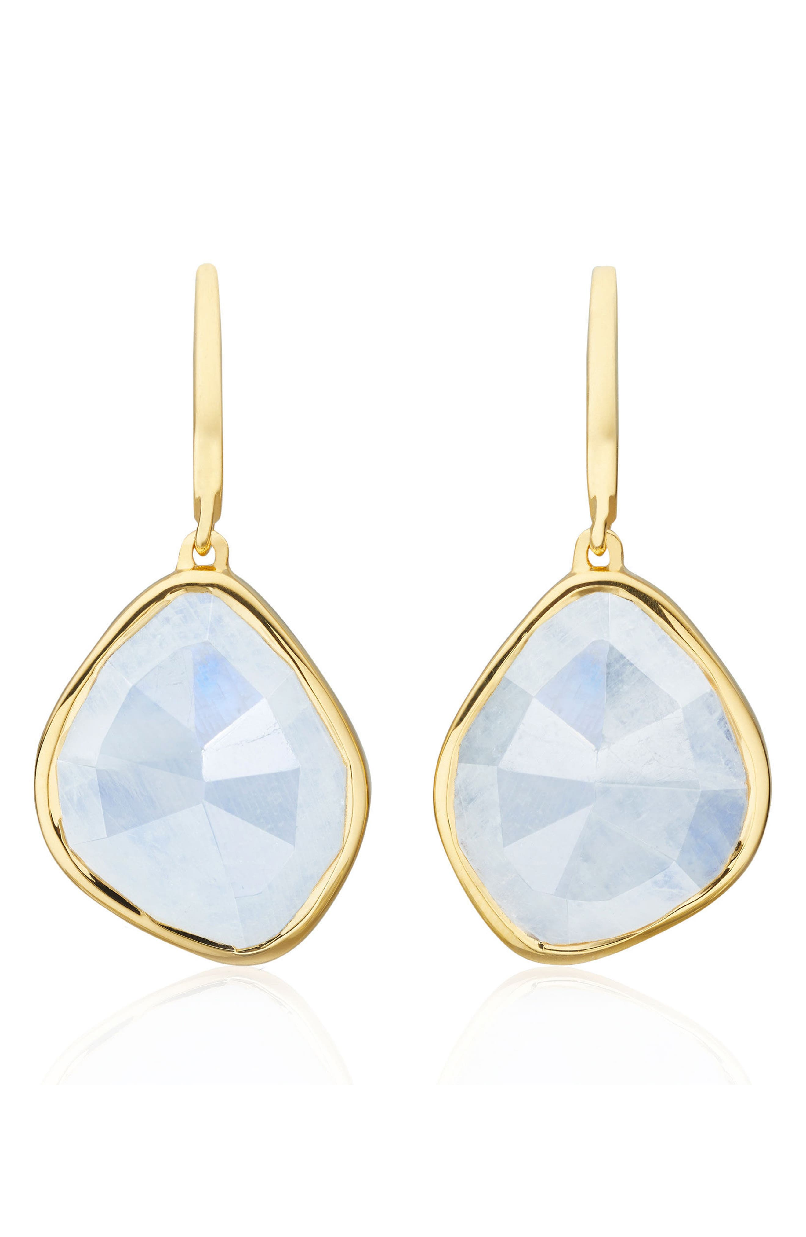Siren Nugget Semiprecious Stone Drop Earrings,                         Main,                         color, Yellow Gold/ Moonstone