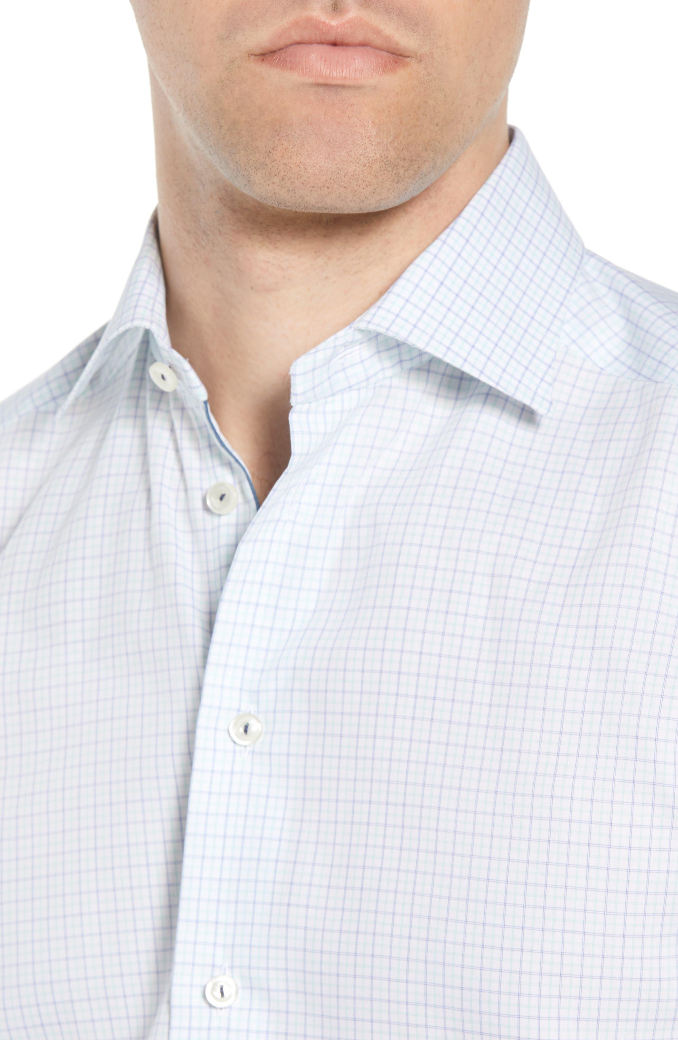 Slim Fit Check Dress Shirt,                             Alternate thumbnail 2, color,                             Green